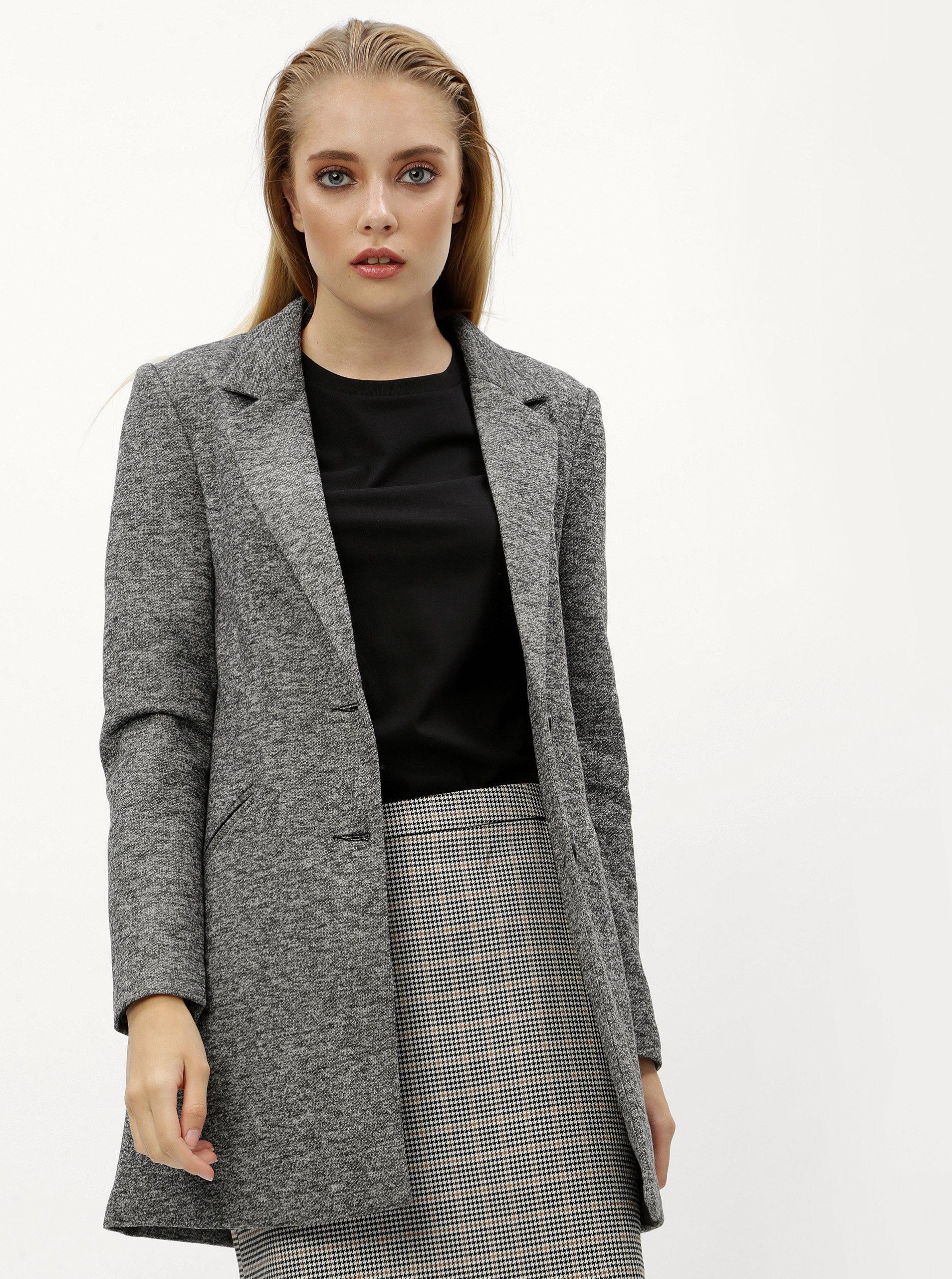 Šedý žíhaný lehký kabát VERO MODA Jackie