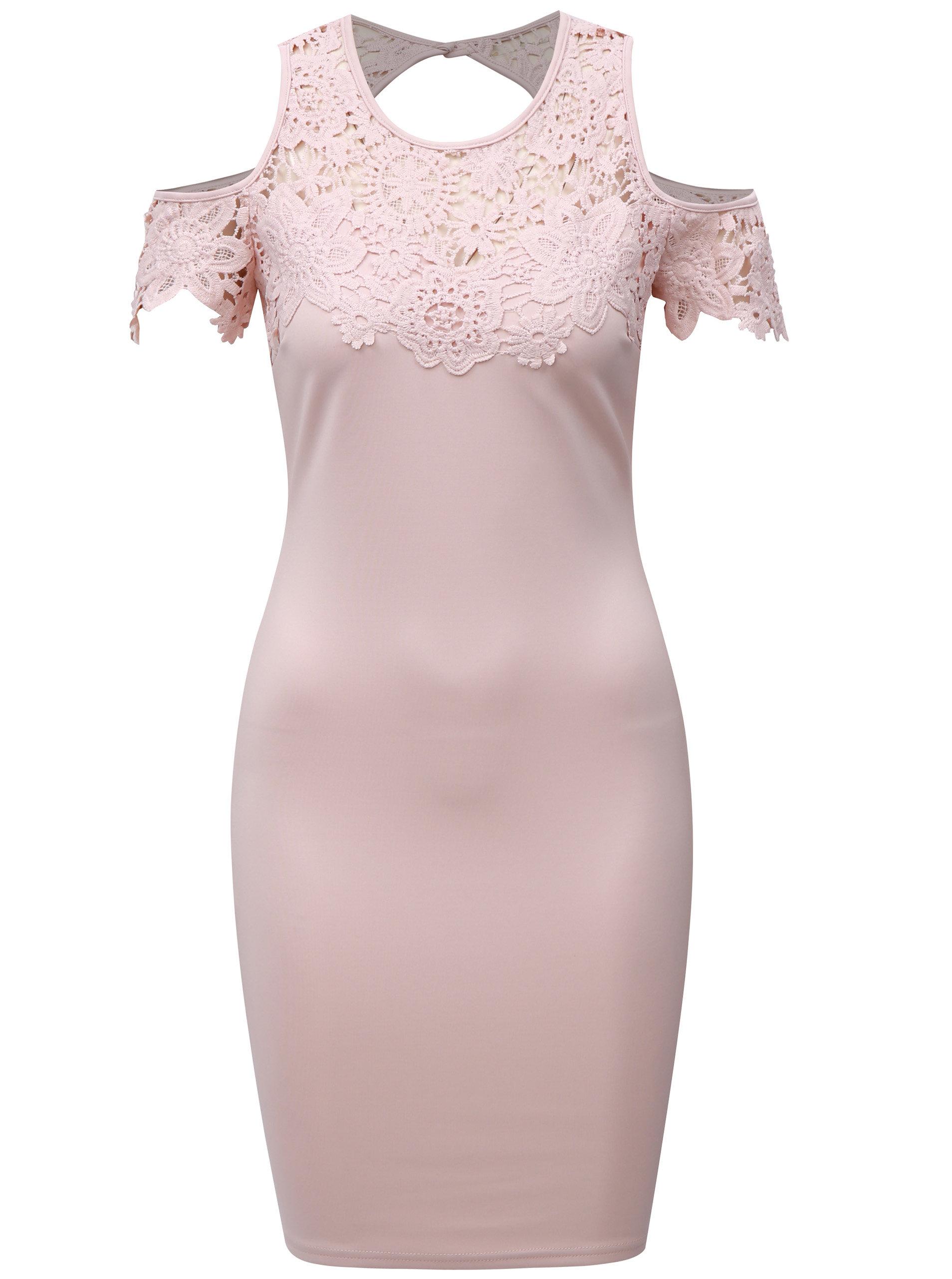 f44ad176c0fa Světle růžové pouzdrové šaty s krajkou a průstřihy na ramenou AX Paris ...