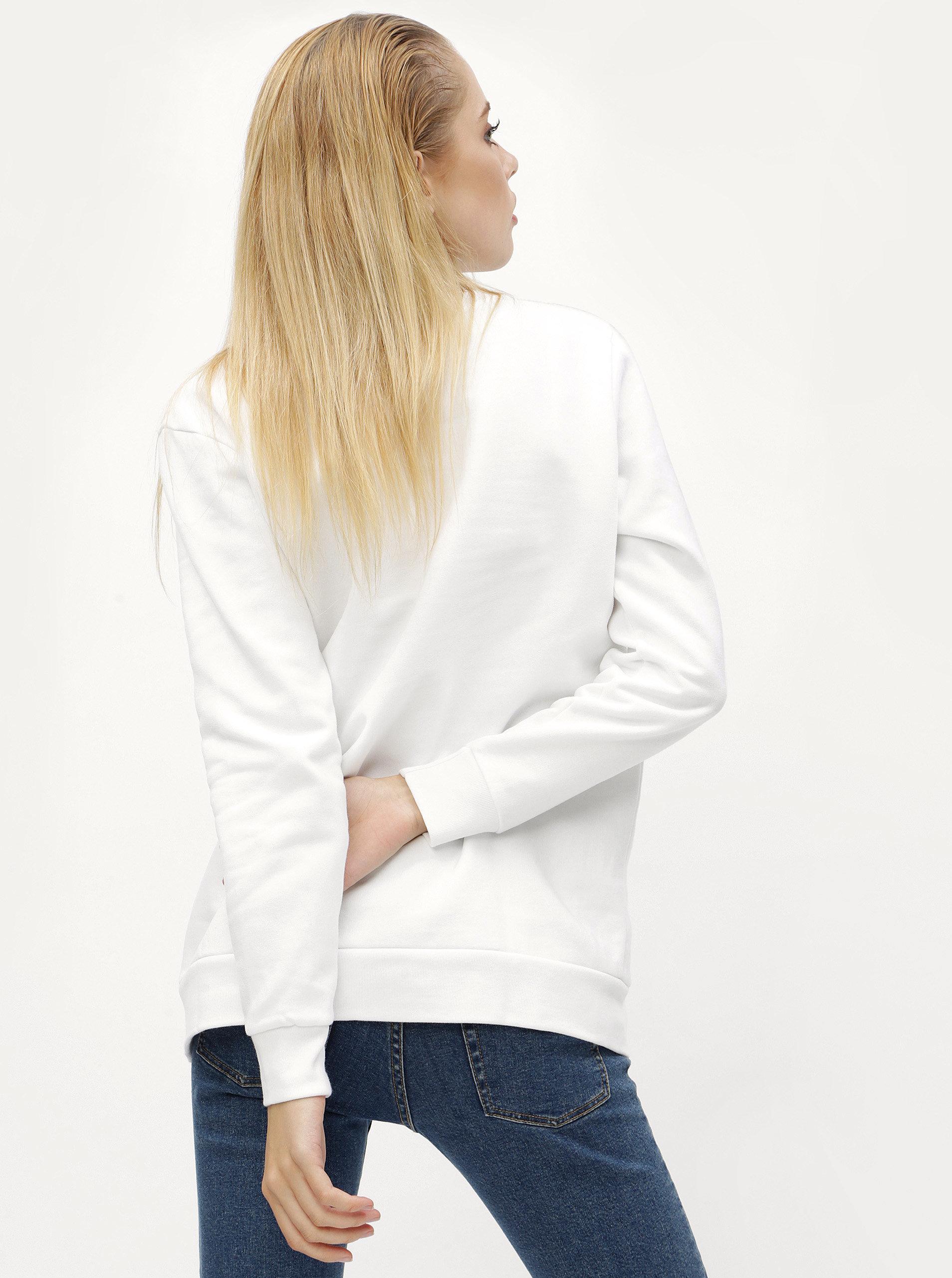 Bílá dámská mikina s výšivkou Calvin Klein Jeans Core ... d63e1b2fca8