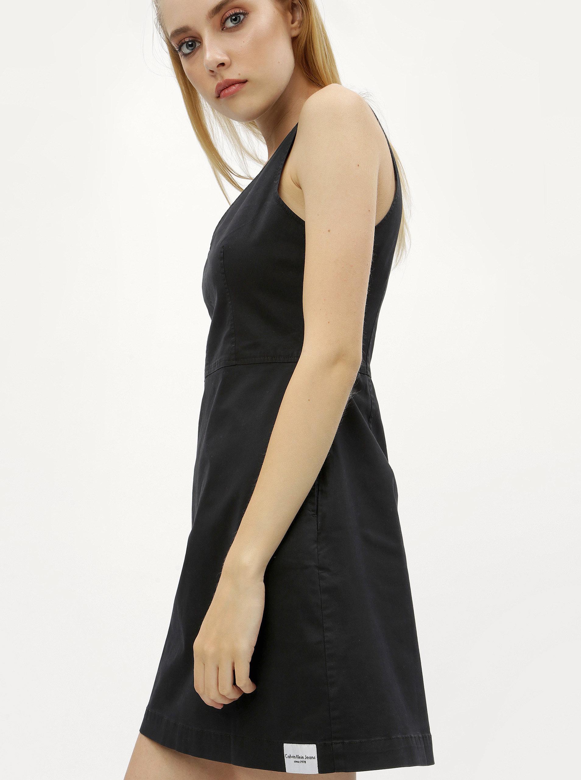 a9c147c6727f Černé minišaty s véčkovým výstřihem Calvin Klein Jeans ...
