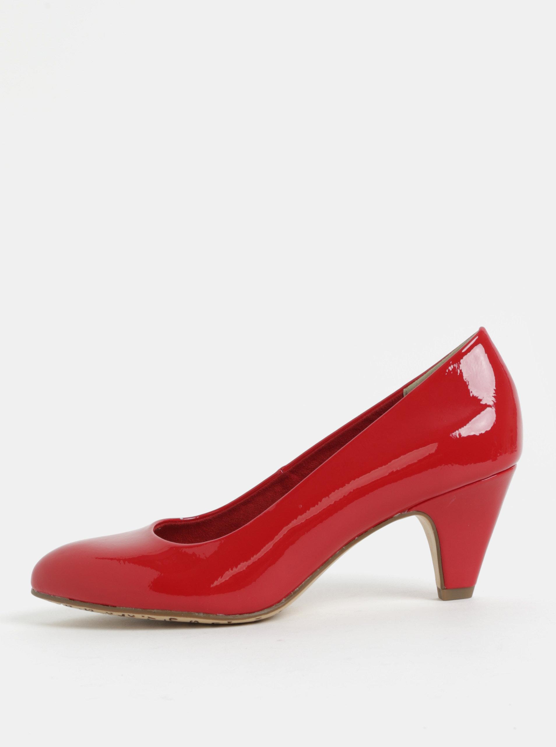 Červené lesklé lodičky na podpatku Tamaris