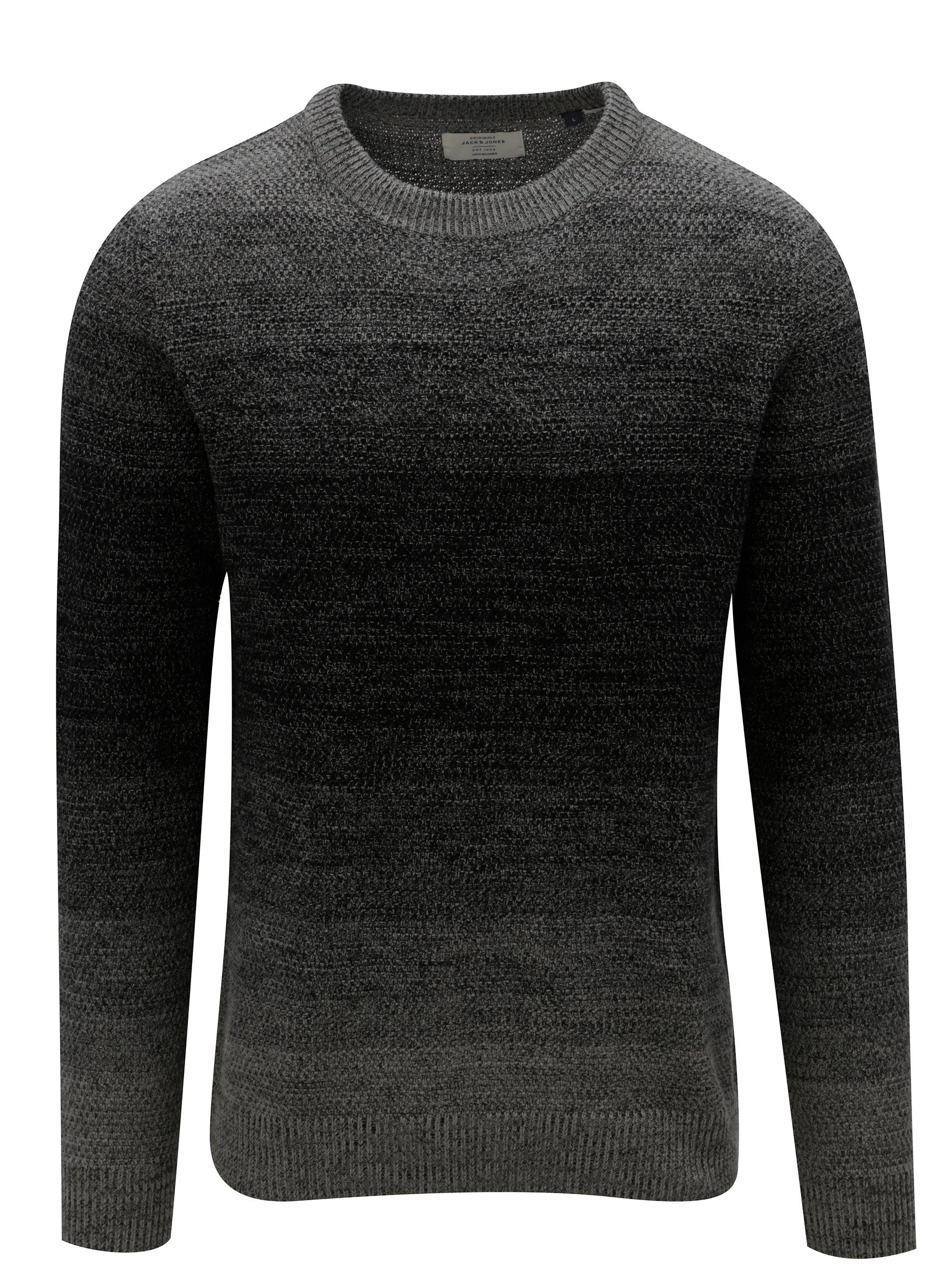 Šedo-černý žíhaný svetr Jack & Jones