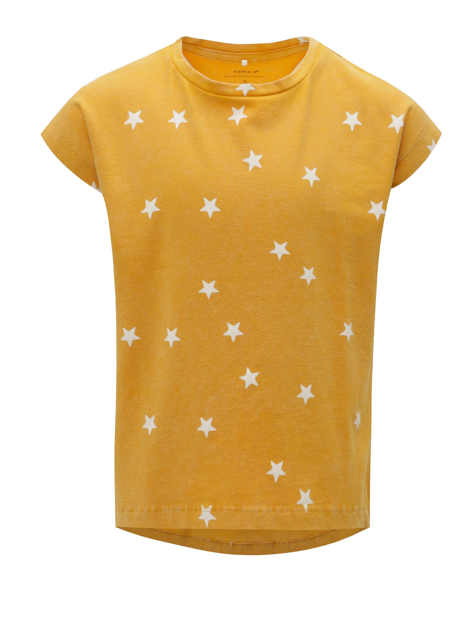 Žluté holčičí vzorované tričko Name it Fluvva