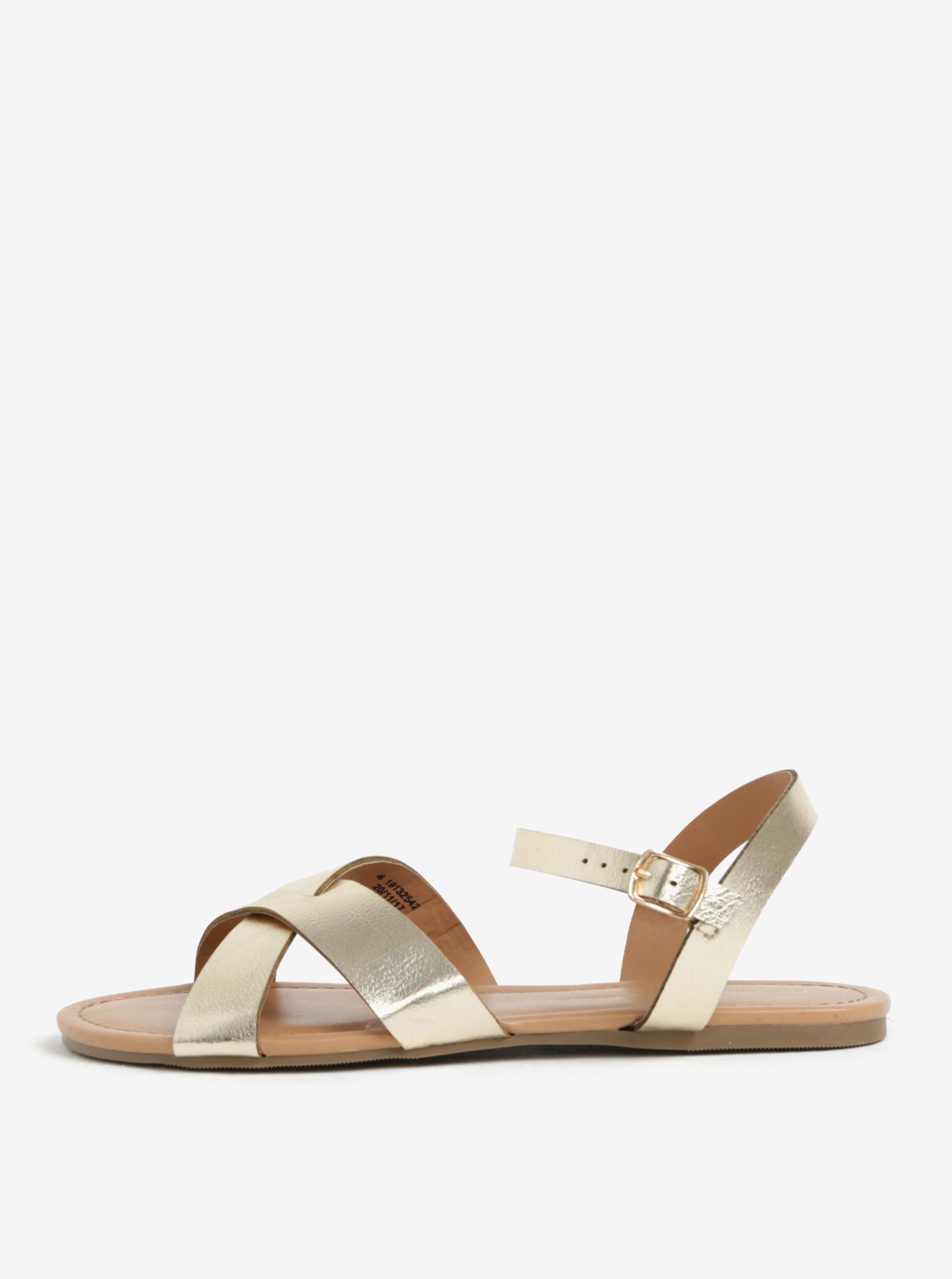 Metalické páskové sandály ve zlaté barvě Dorothy Perkins
