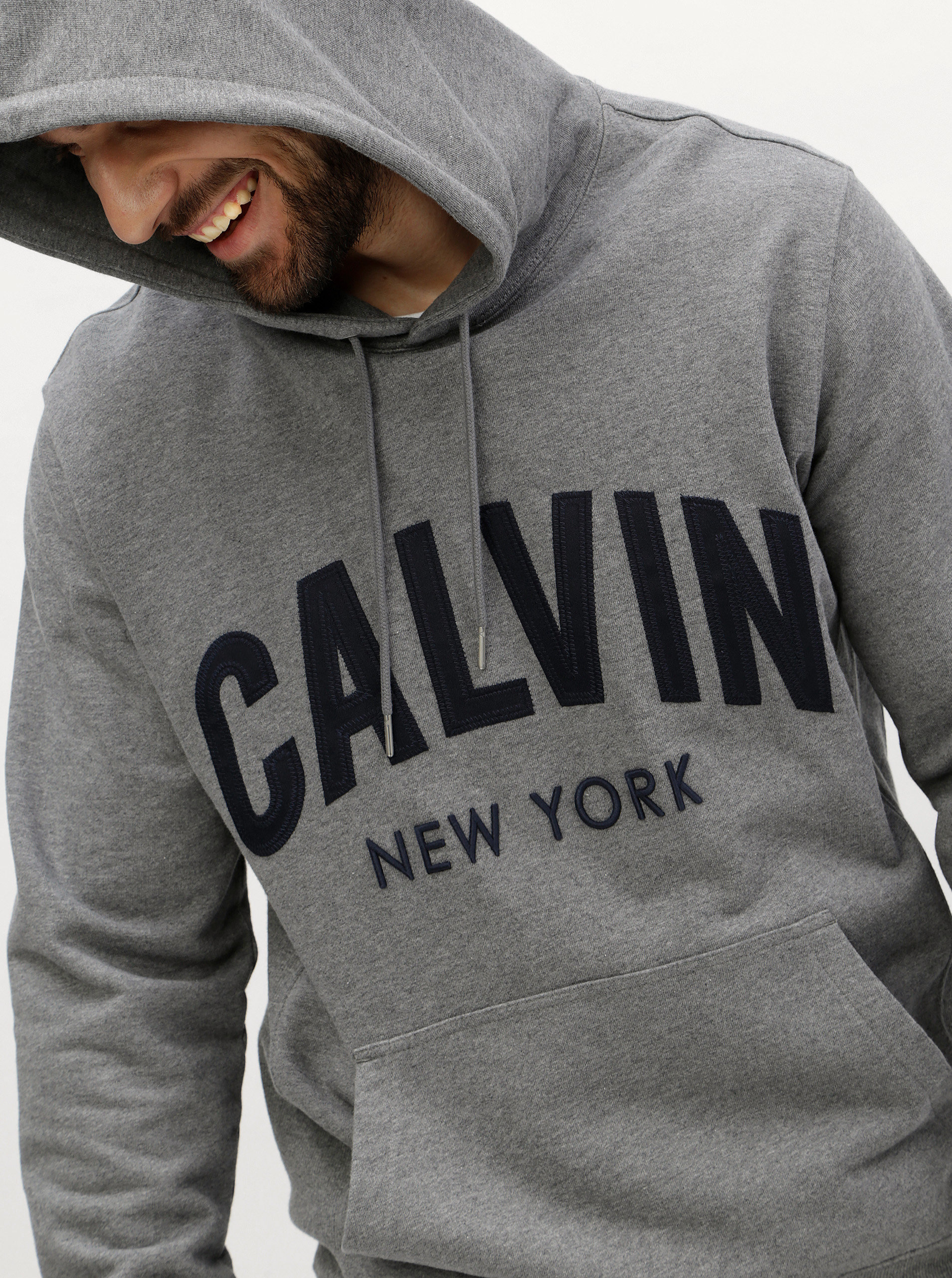 Šedá pánská mikina s kapucí Calvin Klein Jeans Hikos ... f31ce08e81