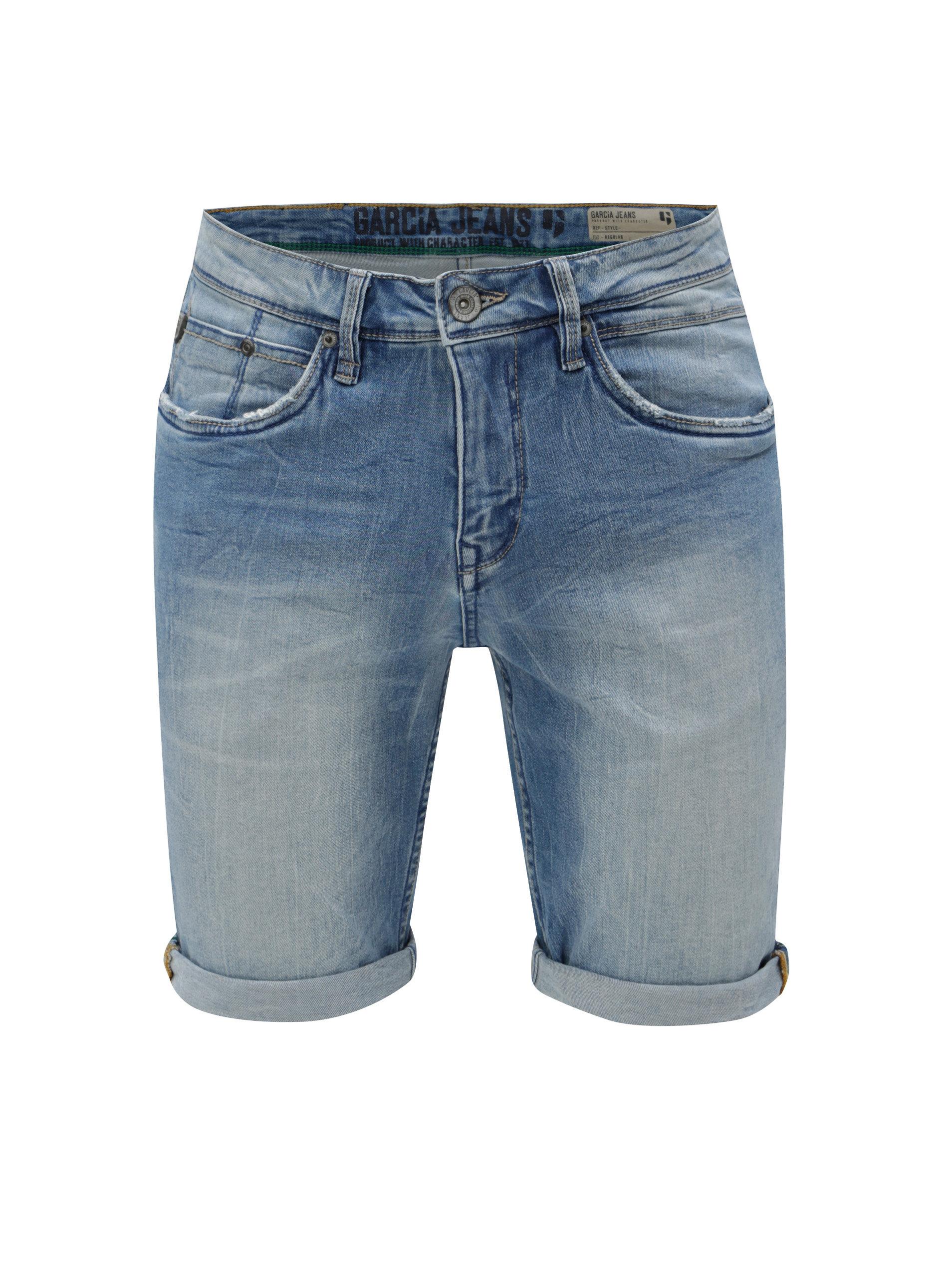 Modré pánské džínové kraťasy s vyšisovaným efektem Garcia Jeans ... 328591b43c