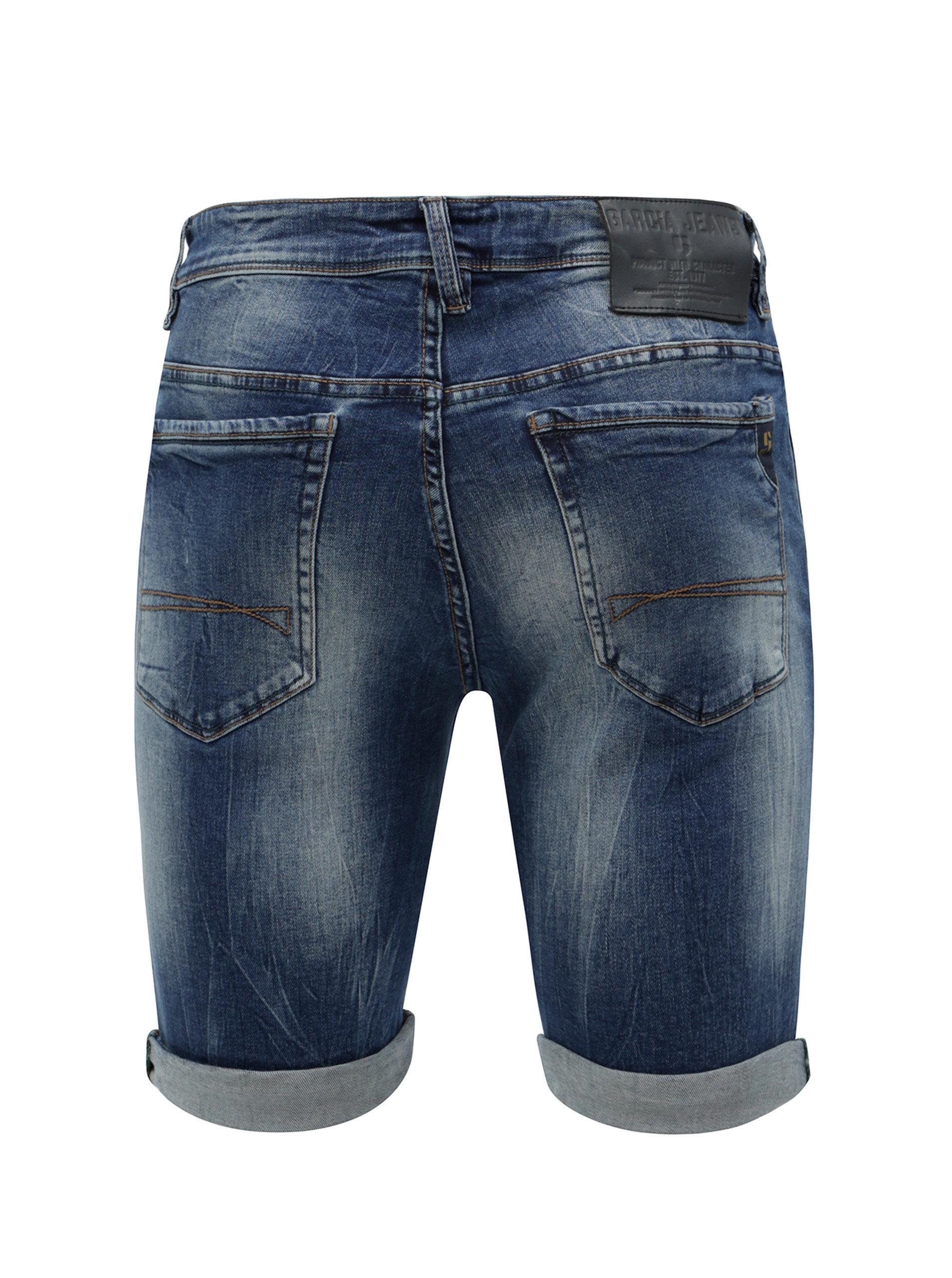 093625b2695 Tmavě modré pánské džínové kraťasy s vyšisovaným efektem Garcia Jeans Russo  short ...