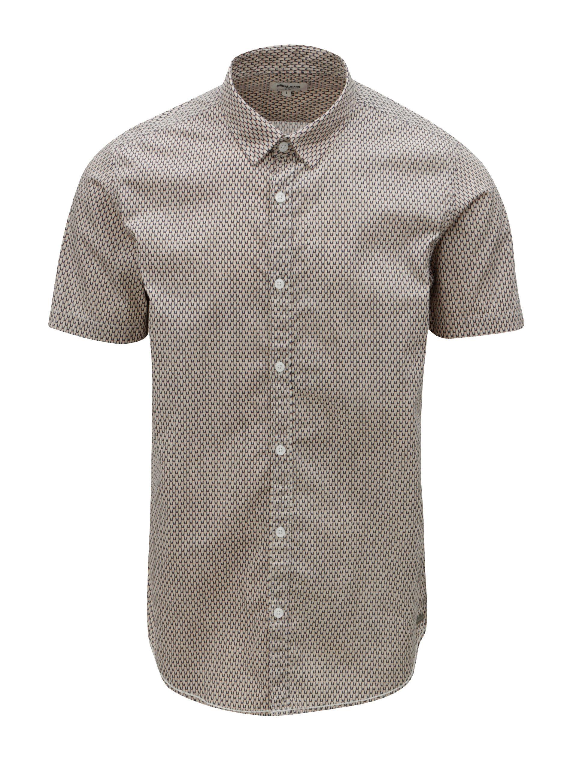 e8867ed62307 Béžová pánska vzorovaná košeľa s krátkym rukávom Garcia Jeans ...