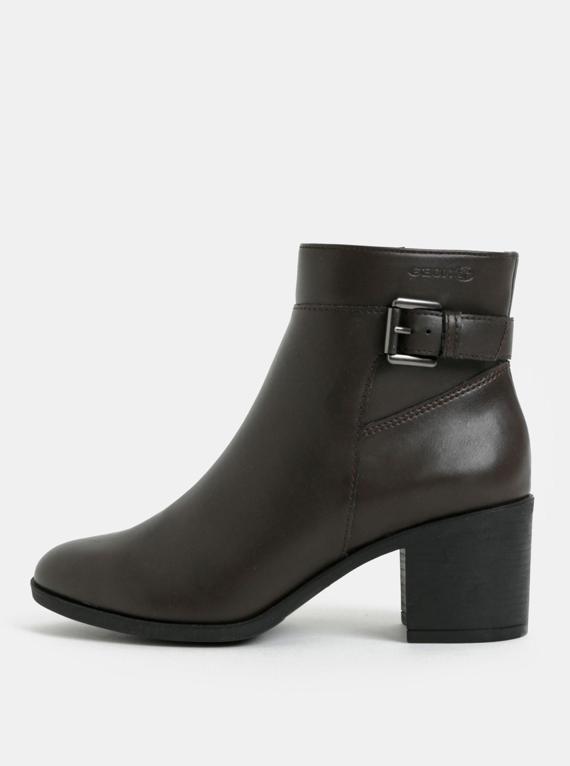 Tmavě hnědé dámské kotníkové boty na vysokém podpatku Geox ... e7a7a9f3ca0