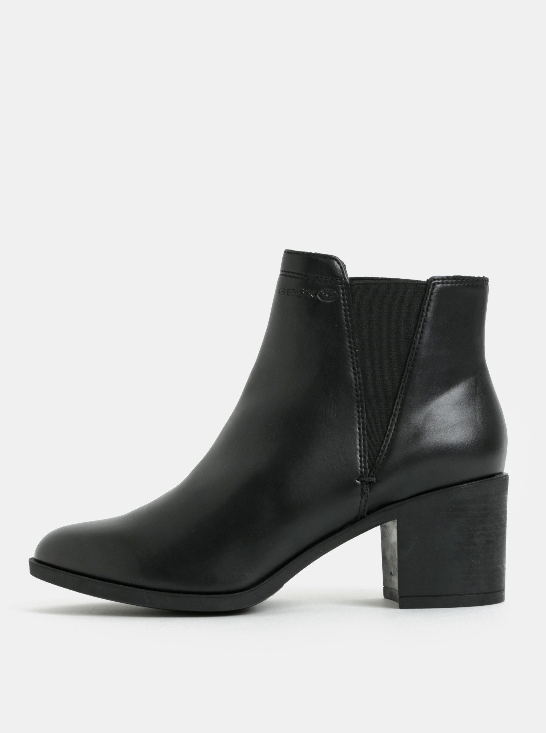 7415fa8f69 Čierne dámske členkové topánky na vysokom podpätku Geox ...