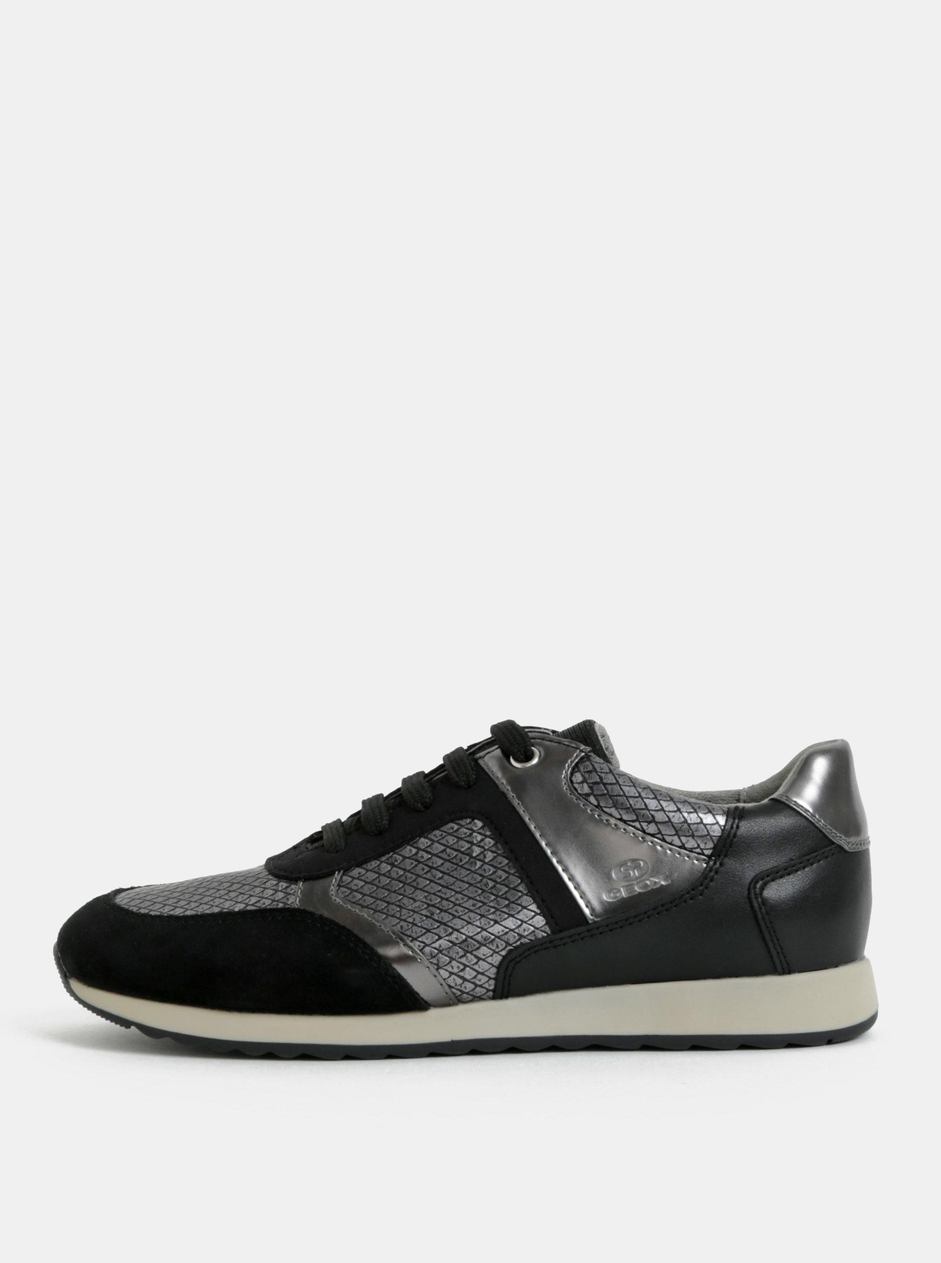 Strieborno-čierne dámske tenisky so semišovými detailmi Geox ... 53354630f8a