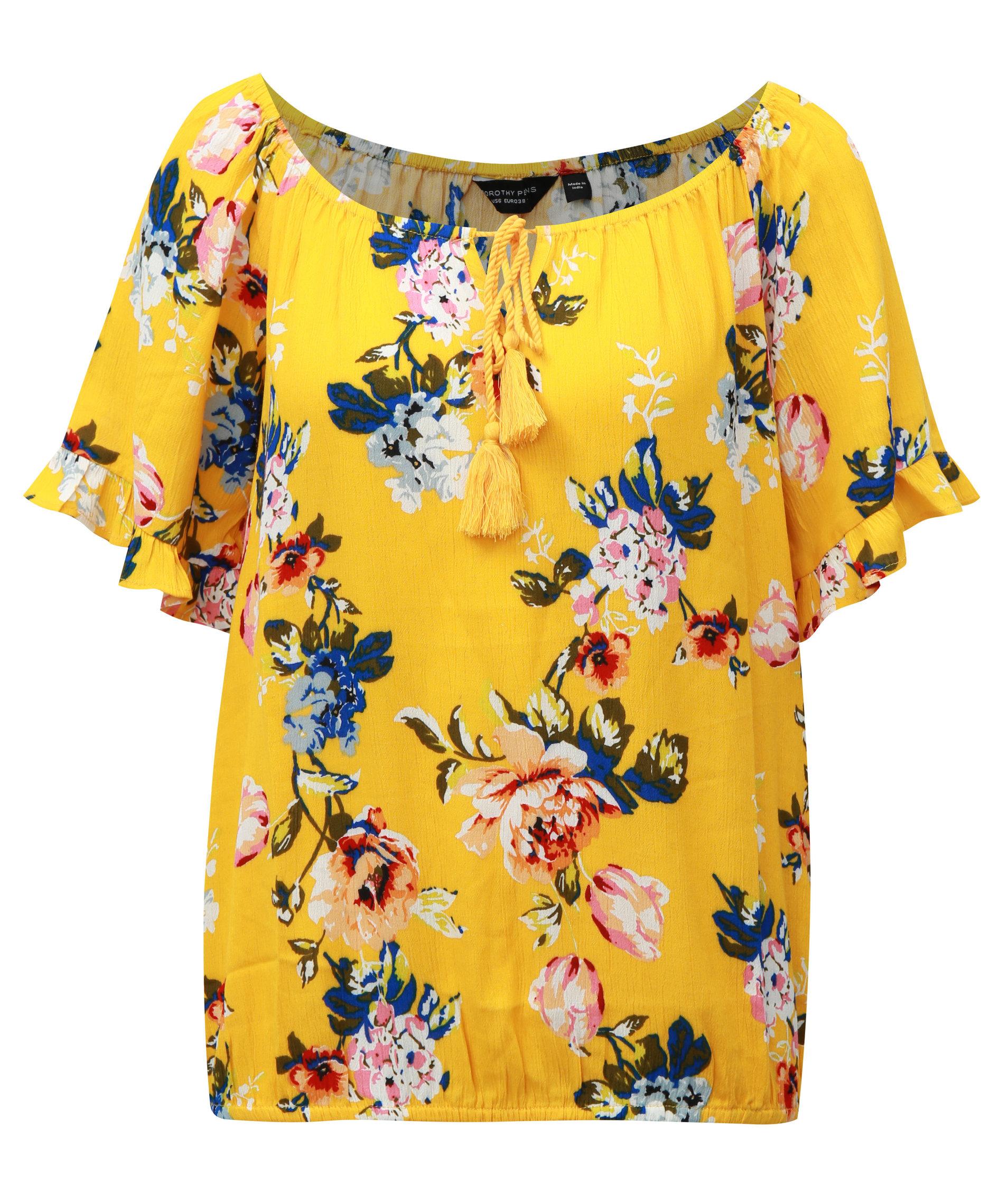 63e9d2099ee9 Žltá kvetovaná blúzka s volánmi na rukávoch Dorothy Perkins ...