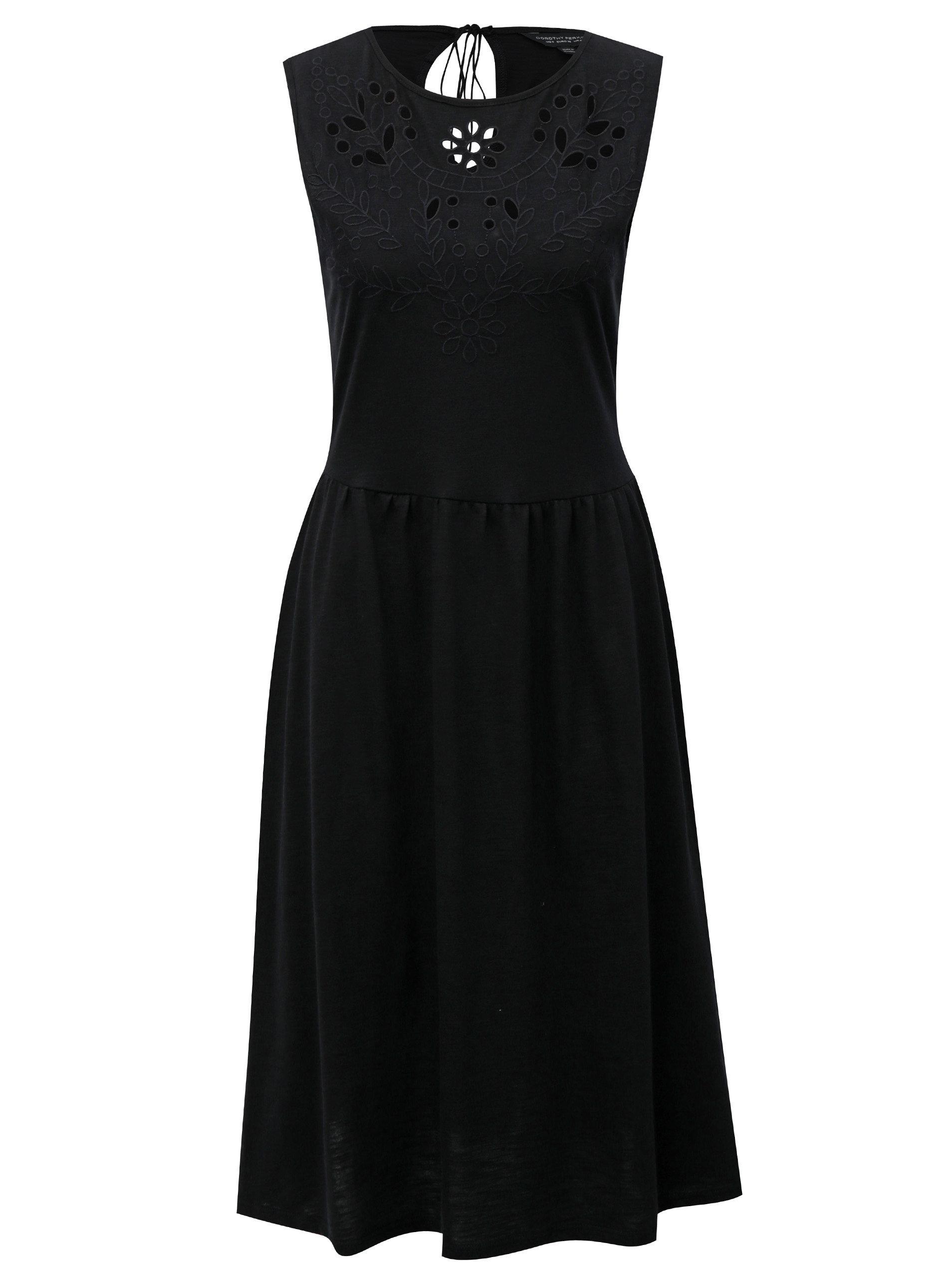 fc07464c4bd5 Čierne šaty s madeirou a prestrihom na chrbte Dorothy Perkins ...