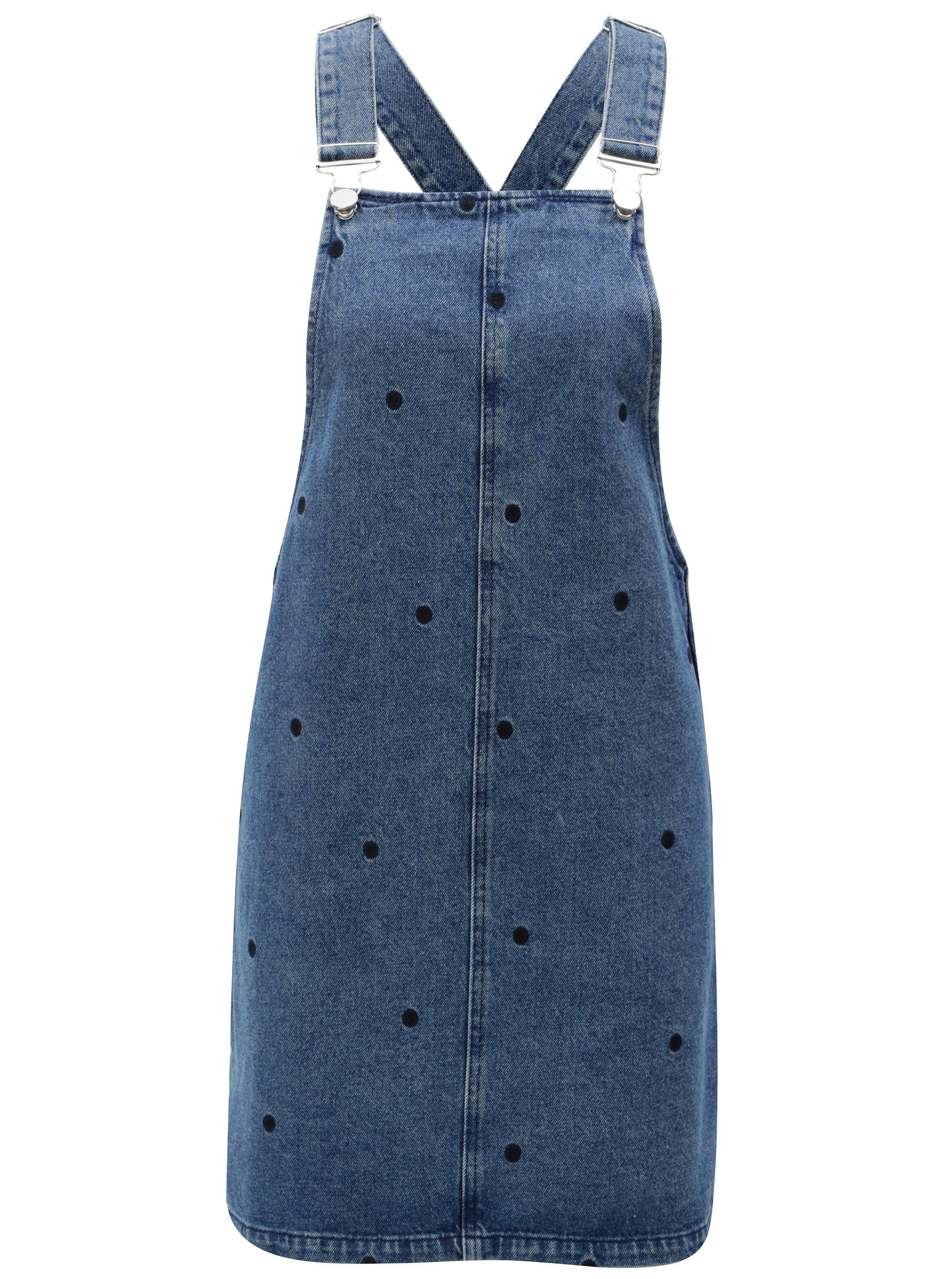 7e286633cde4 Modré rifľové šaty na traky s bodkami Dorothy Perkins ...