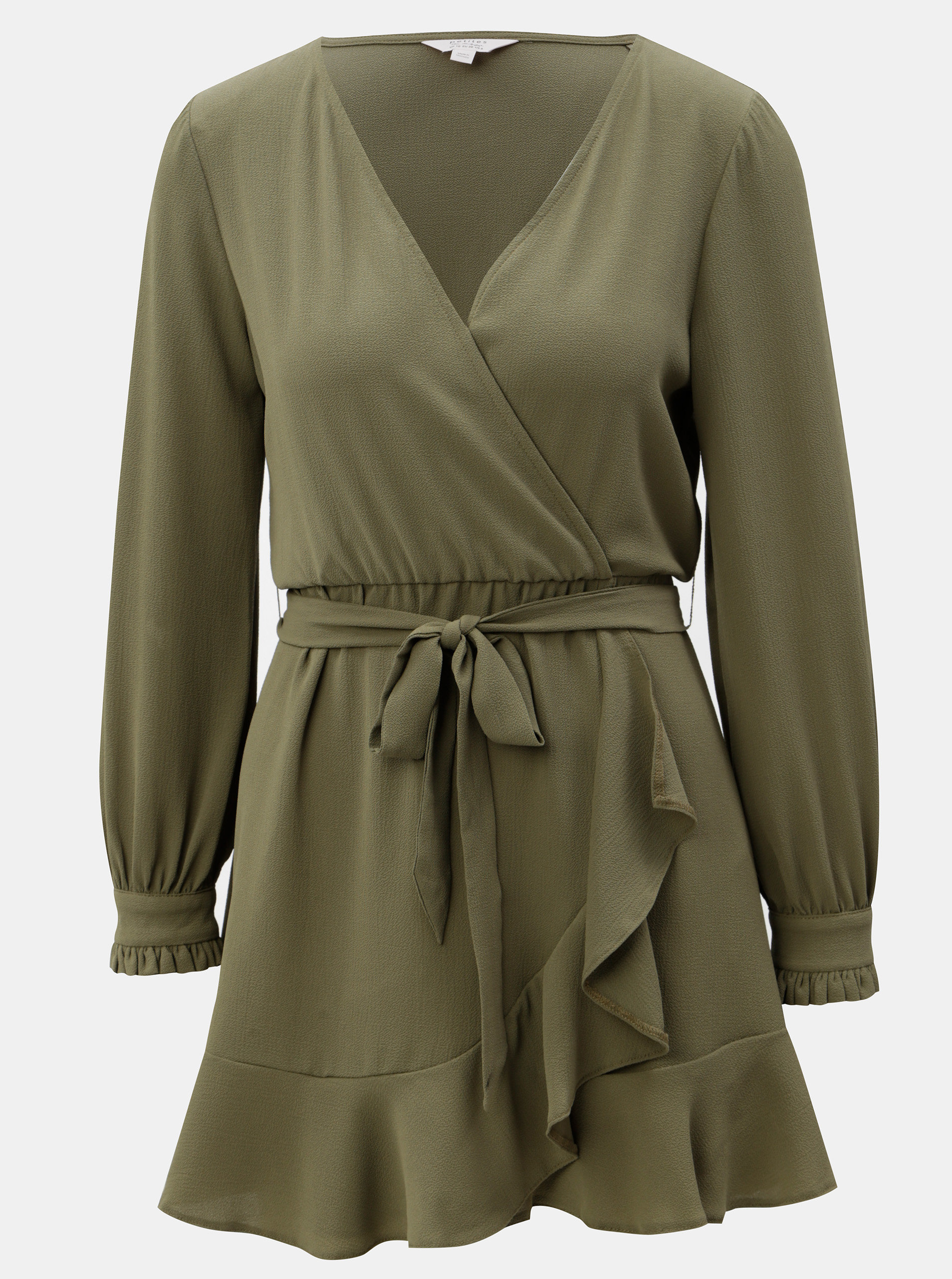a7d7c1dee151 Khaki šaty s překládaným výstřihem Miss Selfridge Petites ...