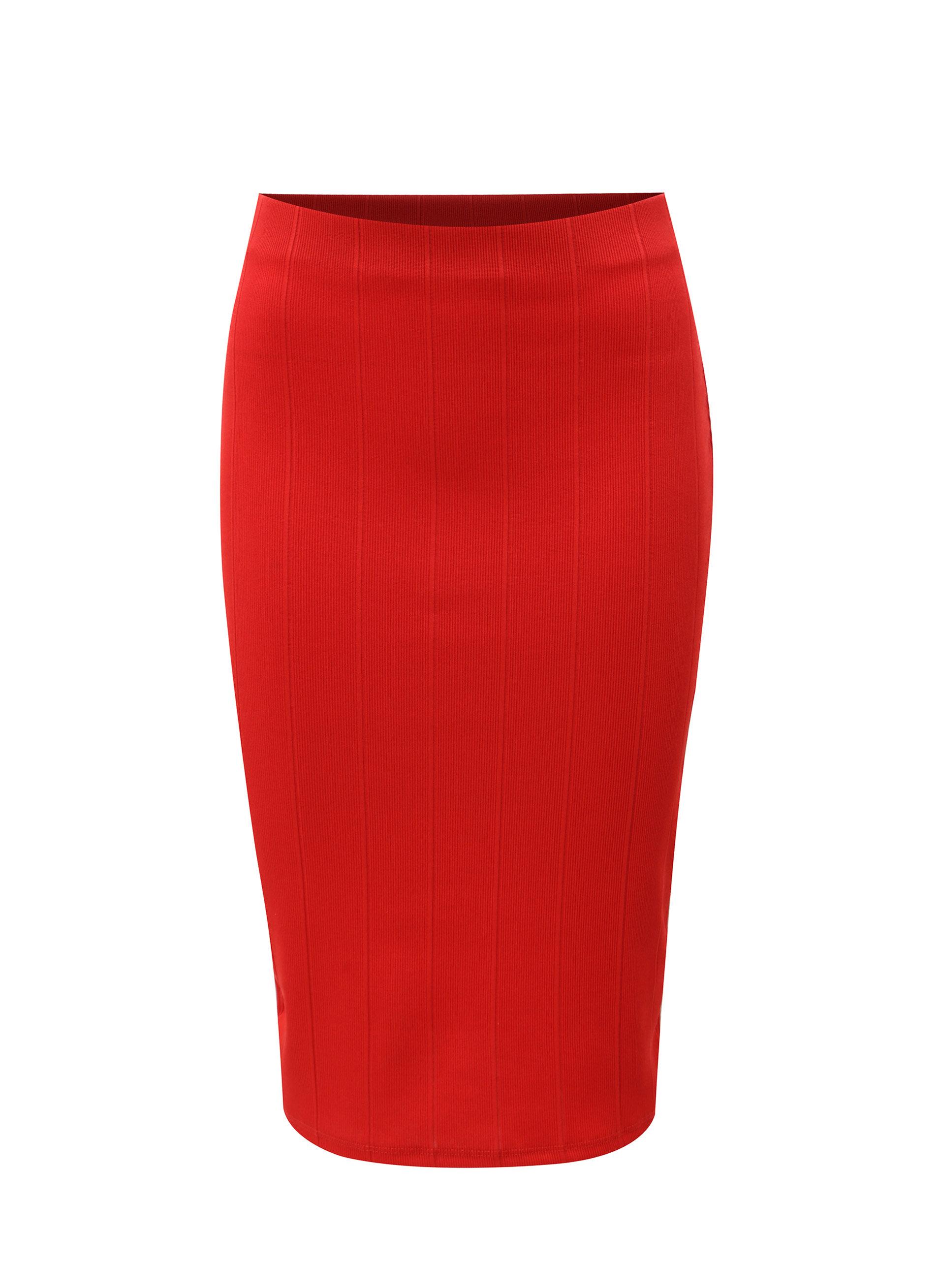 971ff815641b Červená puzdrová rebrovaná sukňa Dorothy Perkins ...