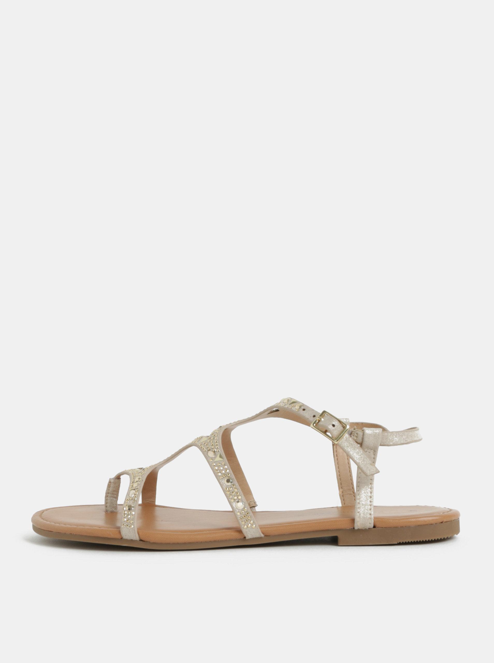 Béžové sandály s detaily ve zlaté barvě Dorothy Perkins