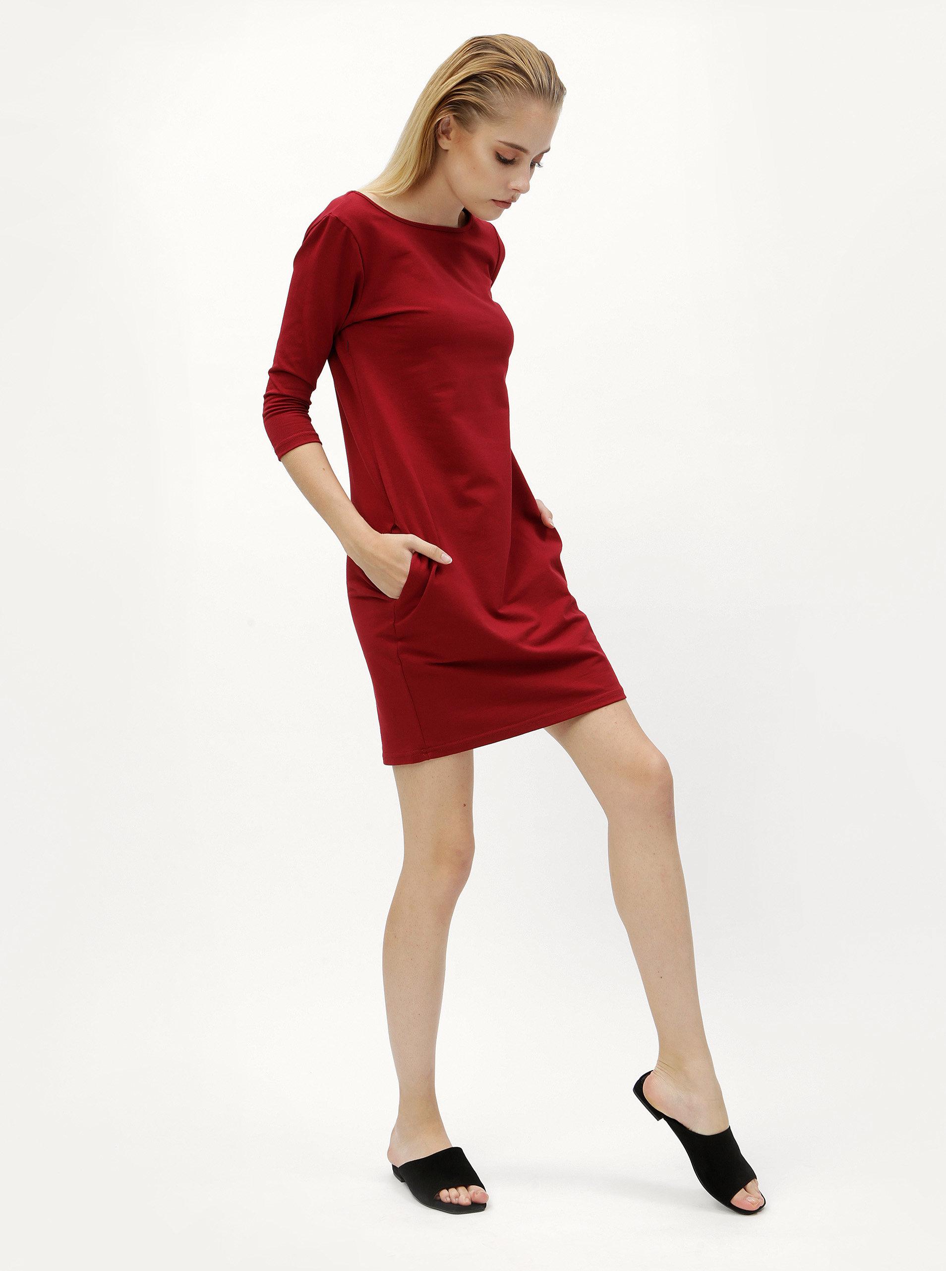 c03b3dccd61 Vínové pouzdrové šaty s 3 4 rukávem ZOOT ...