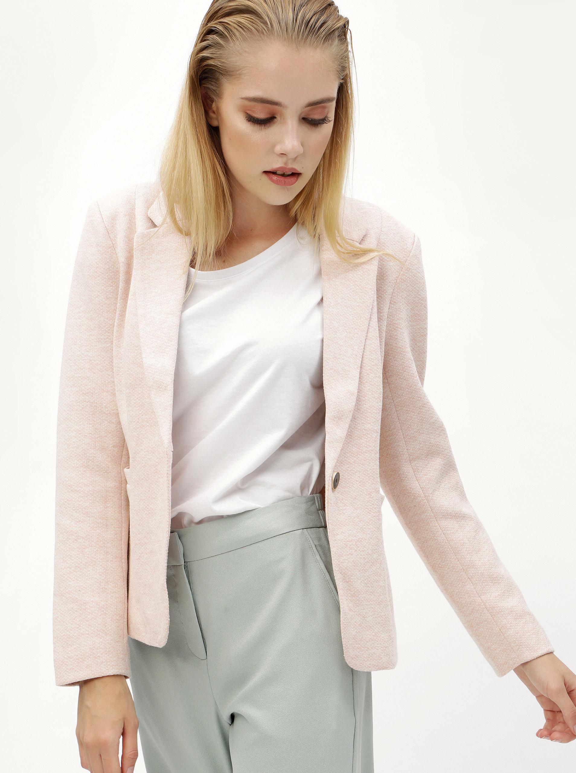Světle růžové žíhané sako s kapsami ONLY Olivia