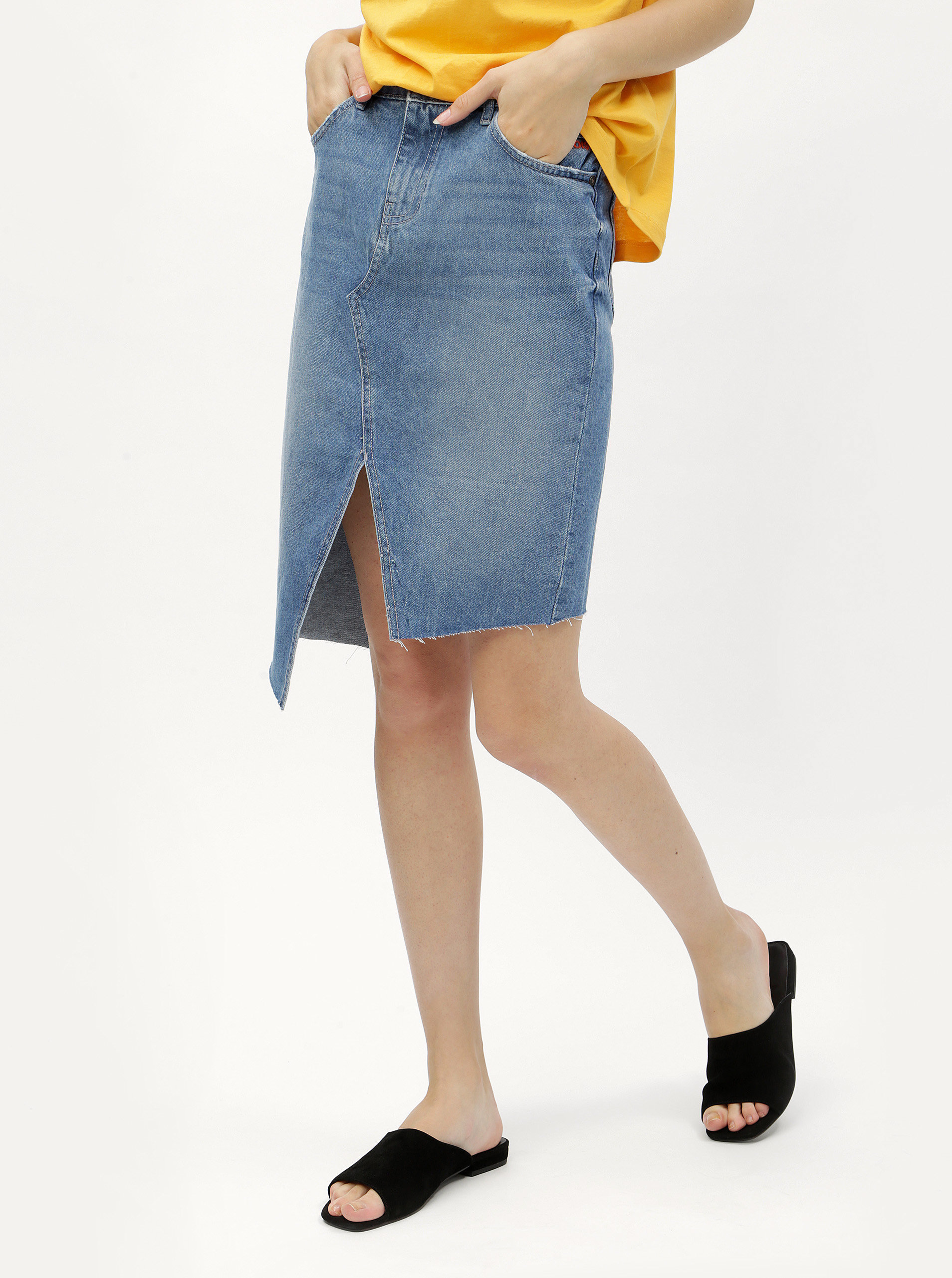 7448a7337 Modrá asymetrická rifľová sukňa s rozparkami Noisy May Rene   ZOOT.sk