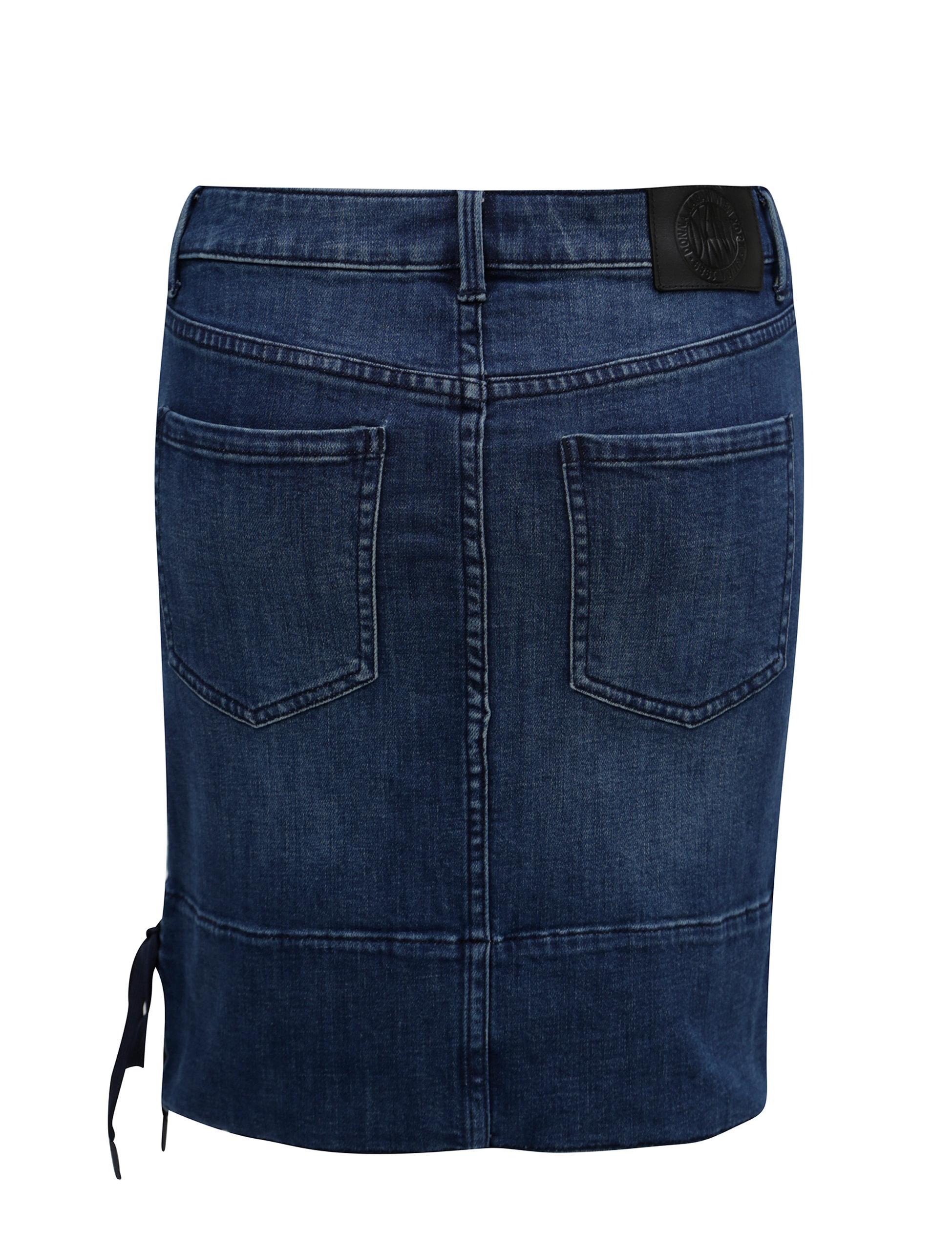 d33812204d6f Modrá rifľová sukňa so šnurovaním DKNY ...