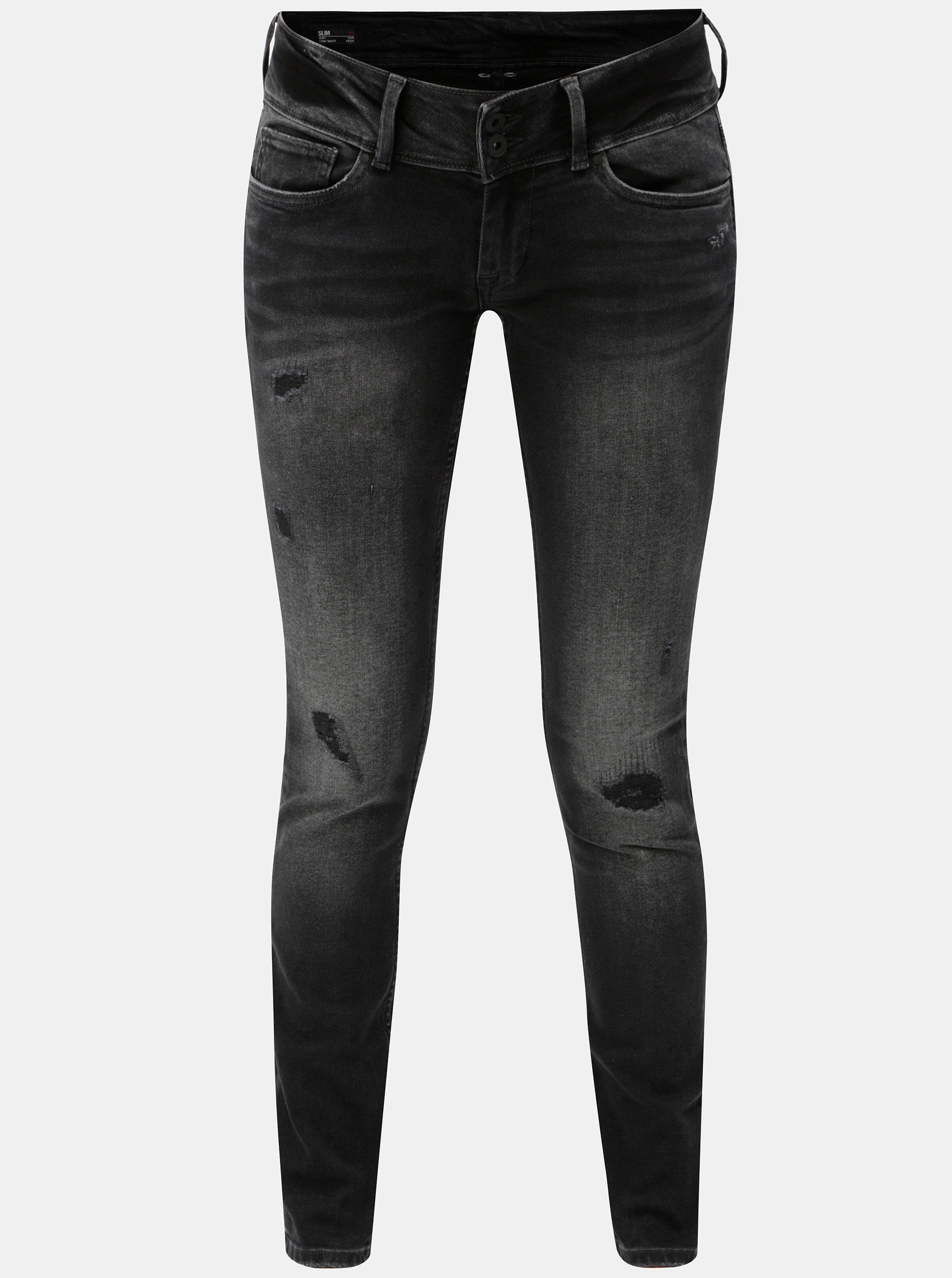 e744d9b541c Černé dámské slim džíny s potrhaným efektem Pepe Jeans Vera ...