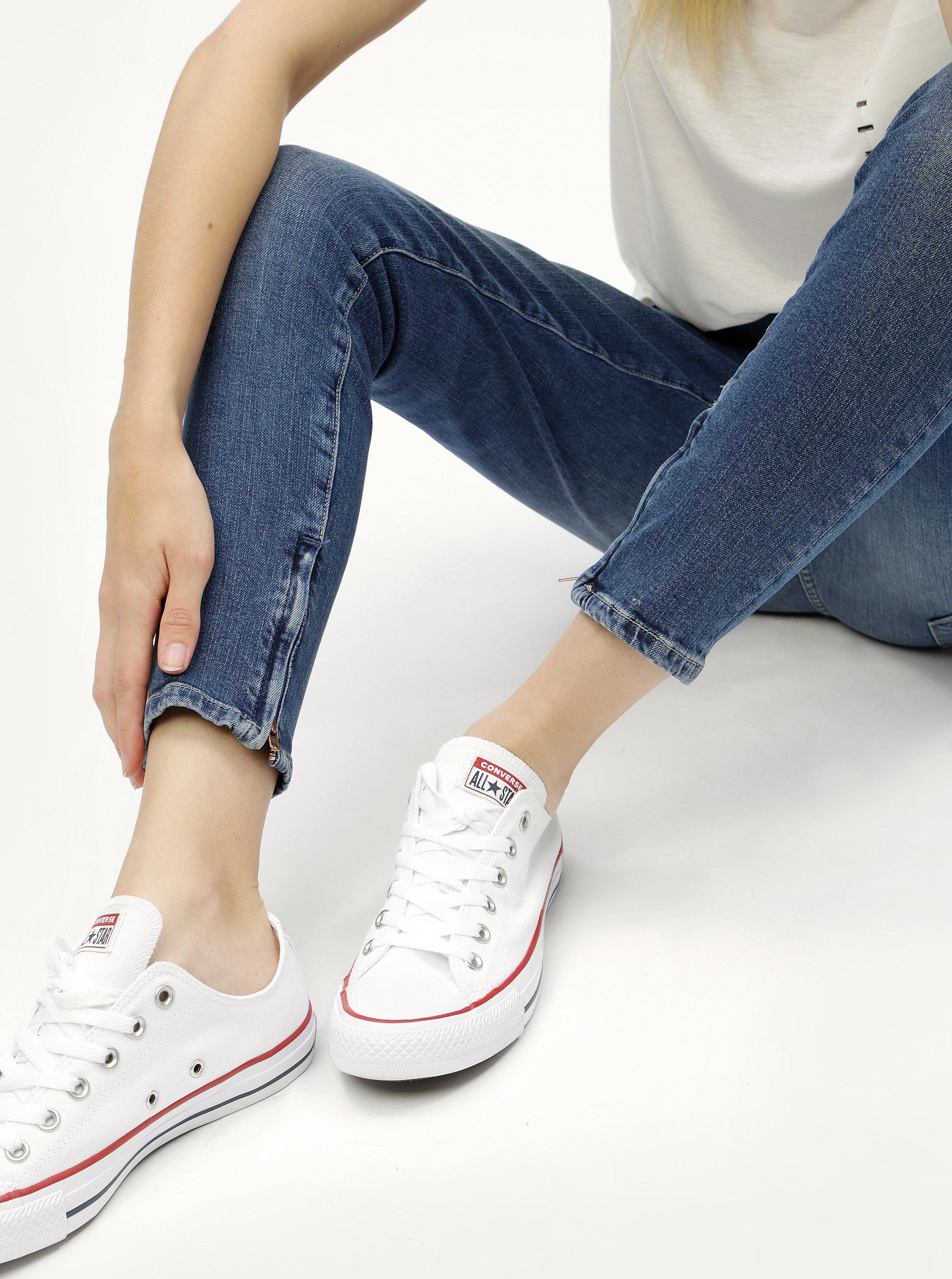 29773ec533c Modré dámské zkrácené skinny džíny se zipy na nohavicích Pepe Jeans Cher ...
