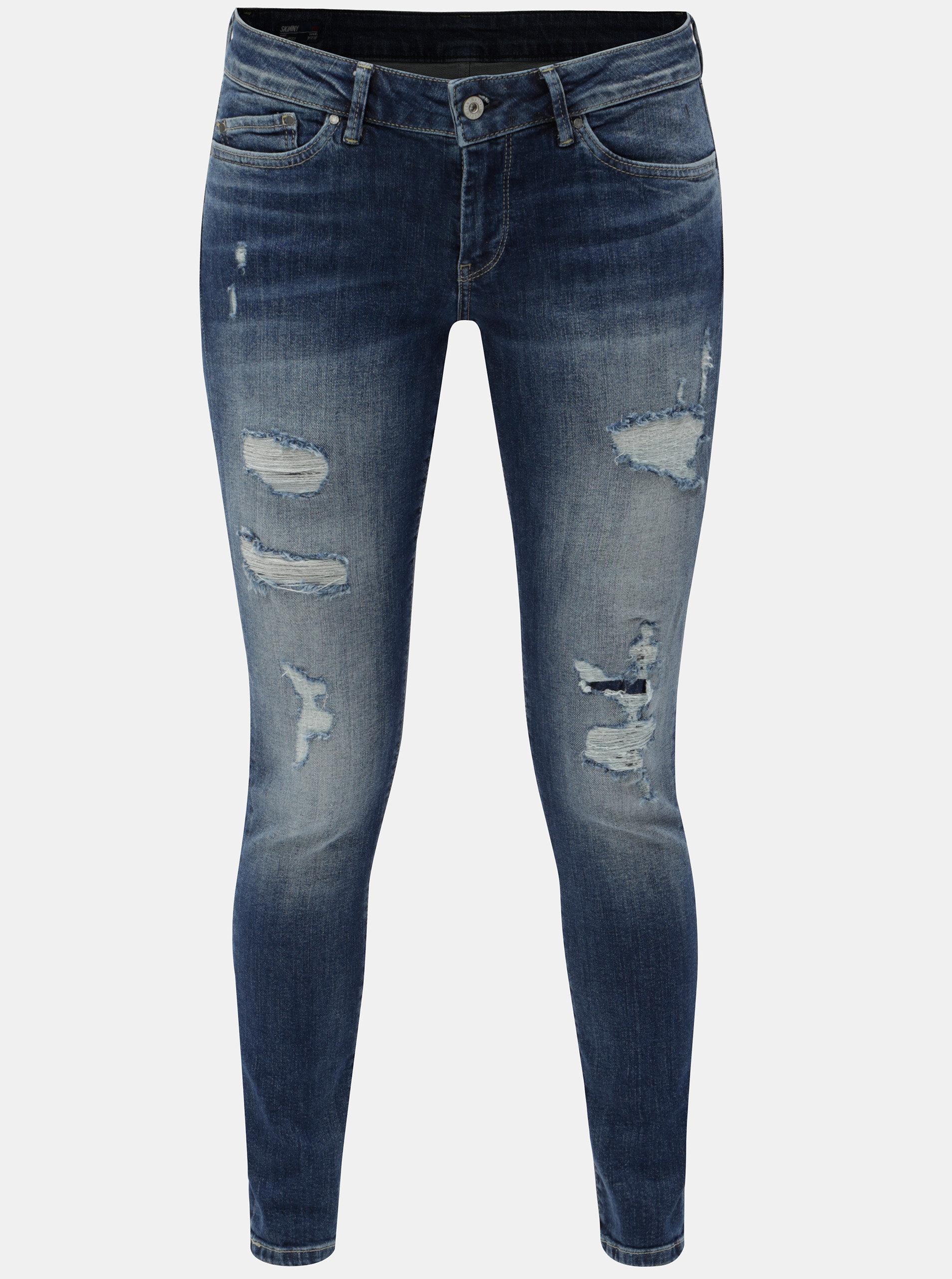 e2fdd5e89f56 Modré dámské skinny džíny s potrhaným efektem Pepe Jeans Pixie ...