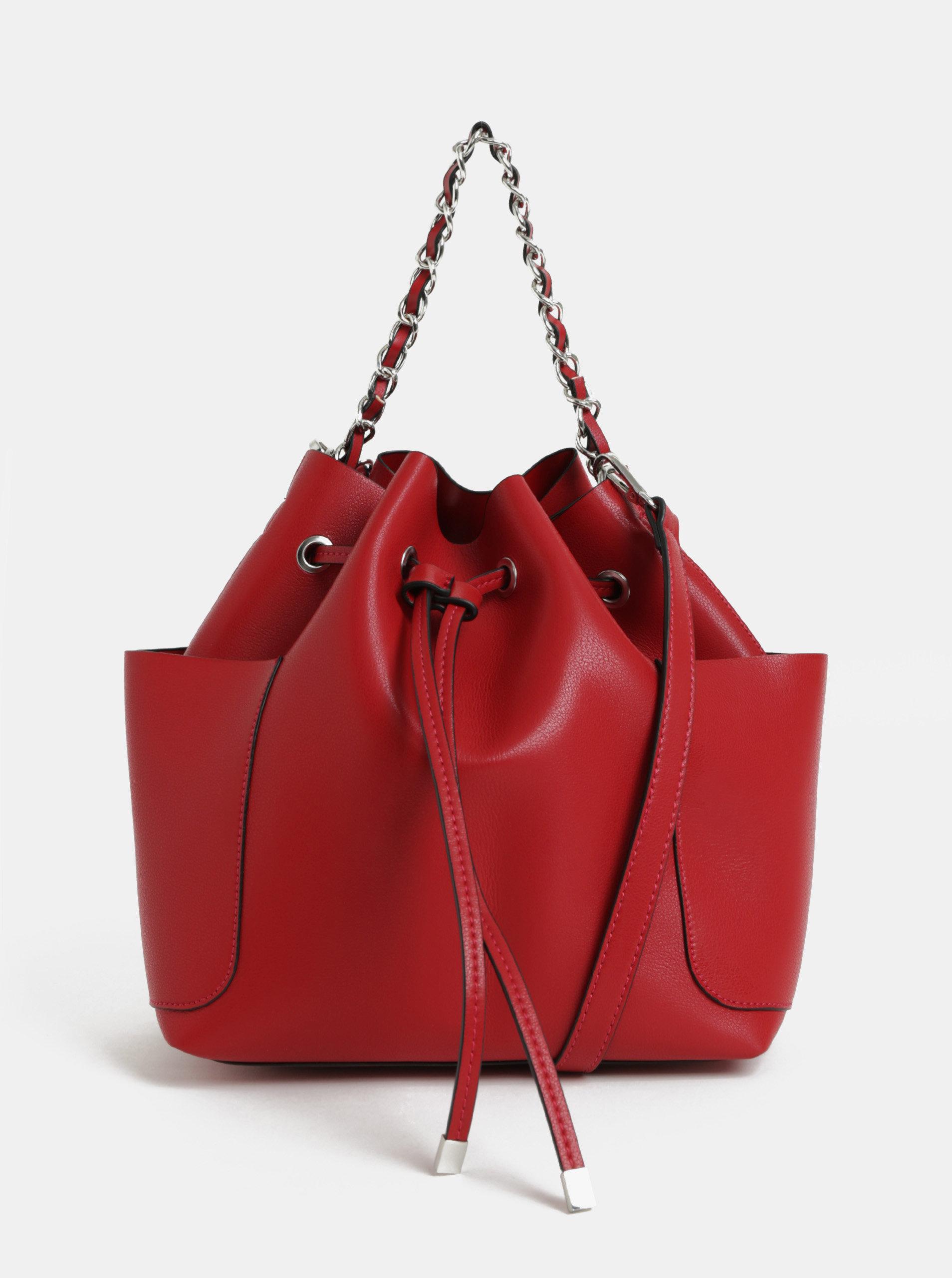 Červená vaková kabelka s odnímatelným popruhem Pieces Freja