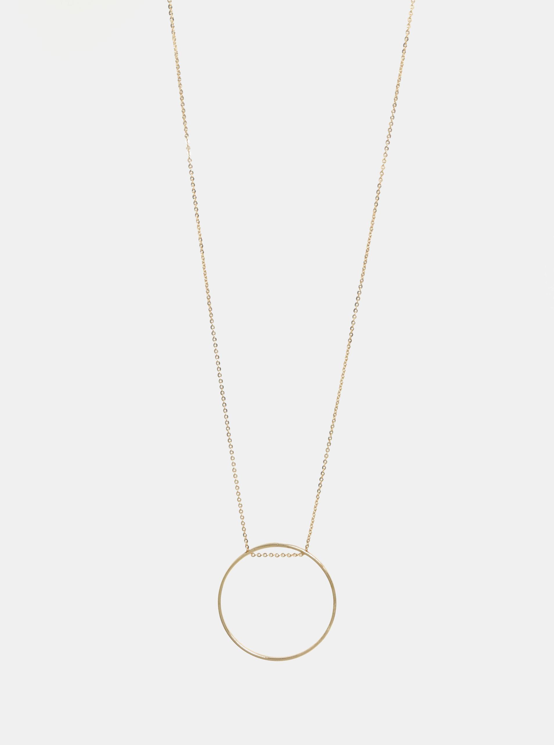 Náhrdelník ve zlaté barvě s kruhovým přívěškem Pieces Twinky