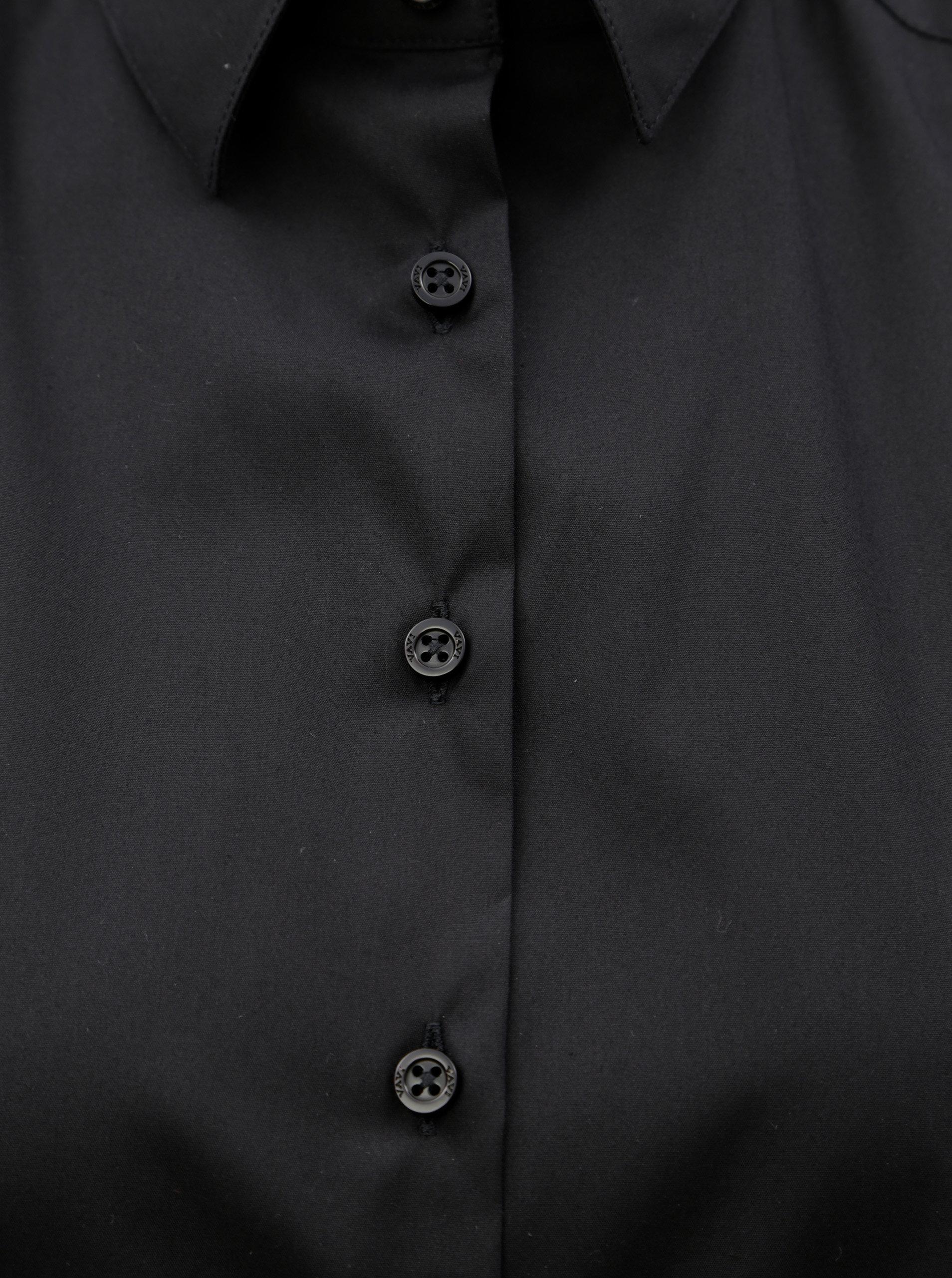 017308918aca Čierne voľné košeľové šaty s dlhým rukávom VAVI ...