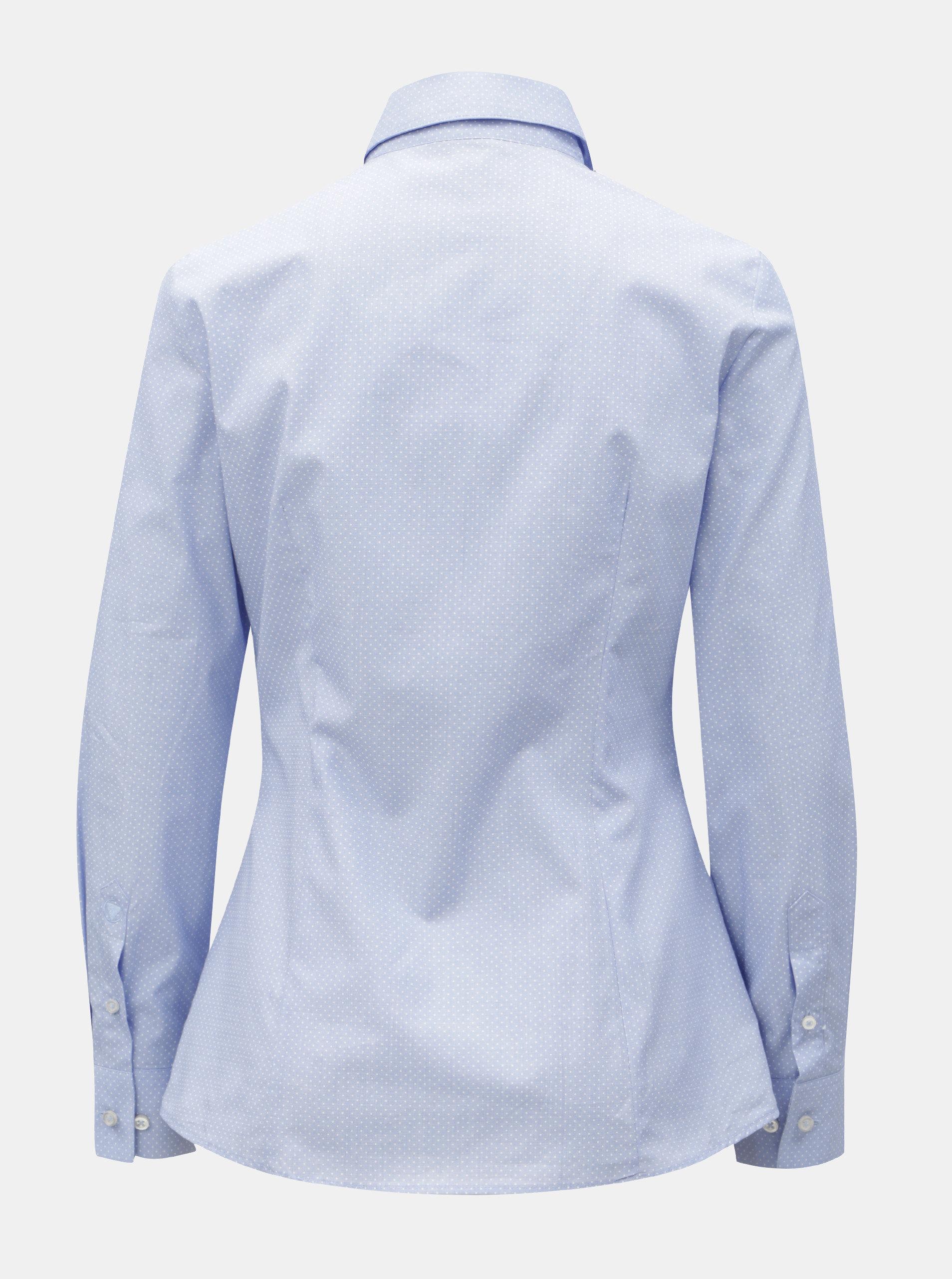 e328060df70b Svetlomodrá dámska bodkovaná košeľa VAVI ...
