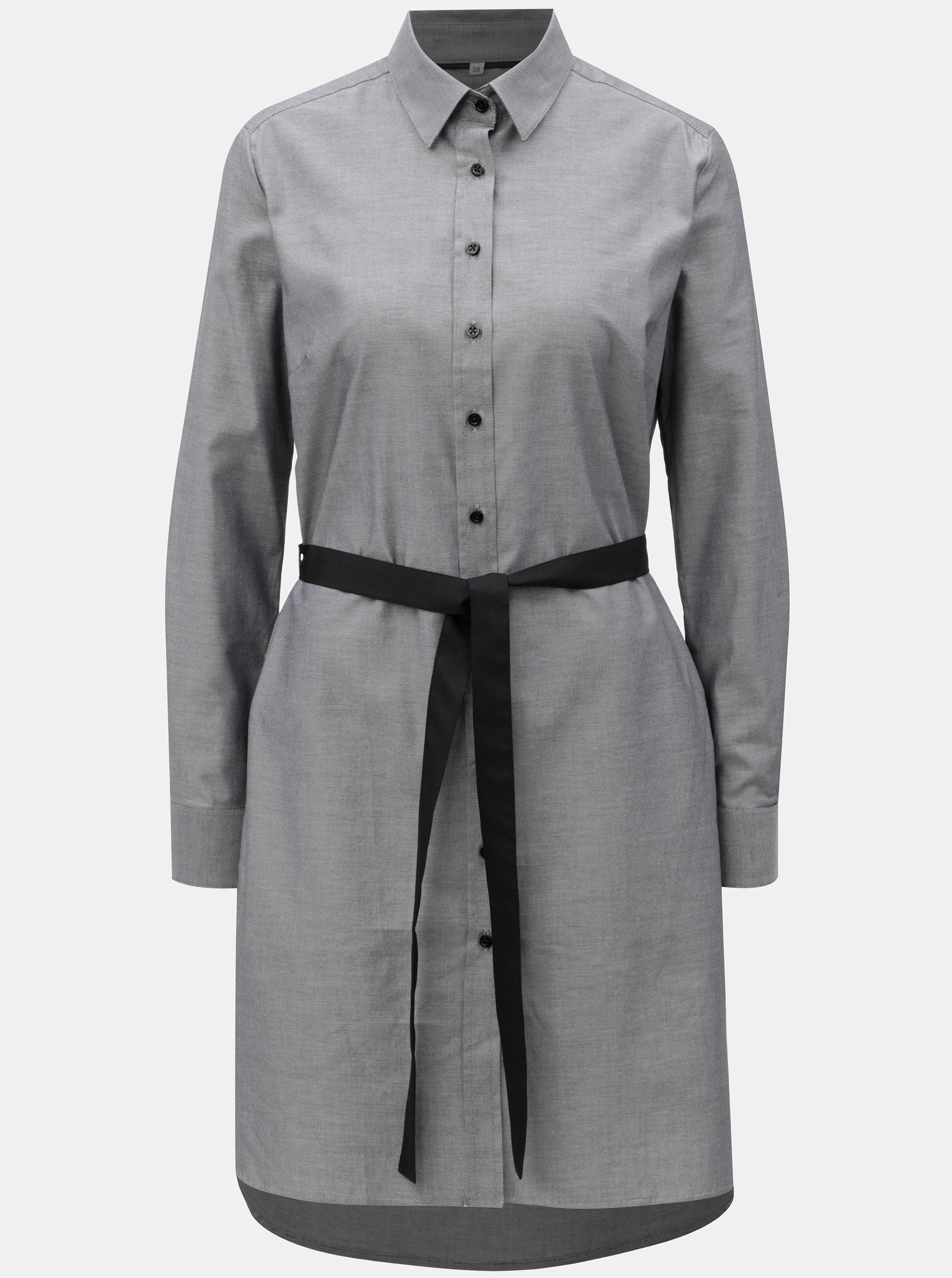 7d69940c311 Šedé košilové šaty s páskem na zavazování VAVI ...
