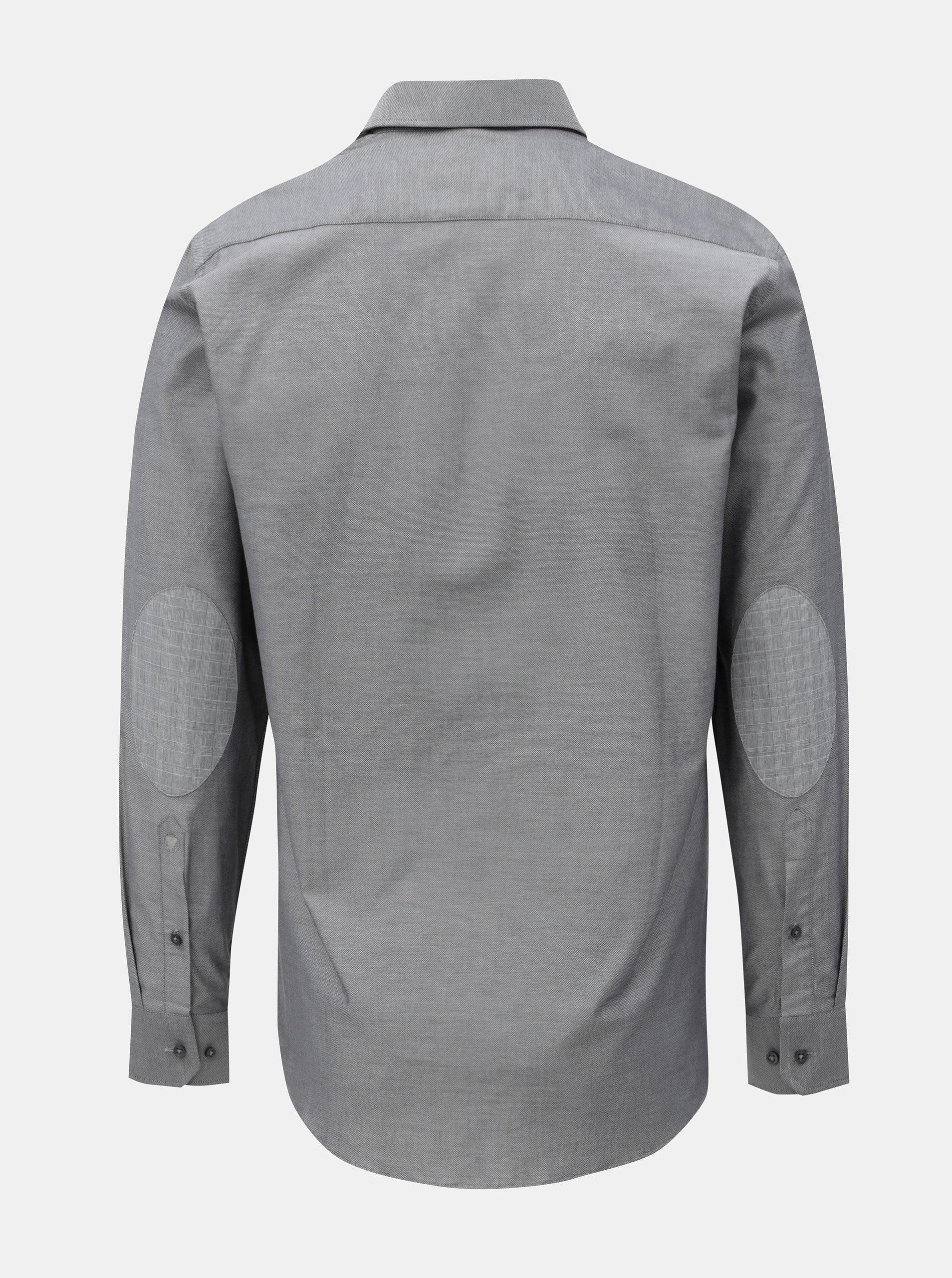 645177251833 Sivá pánska košeľa so záplatami na lakťoch VAVI ...