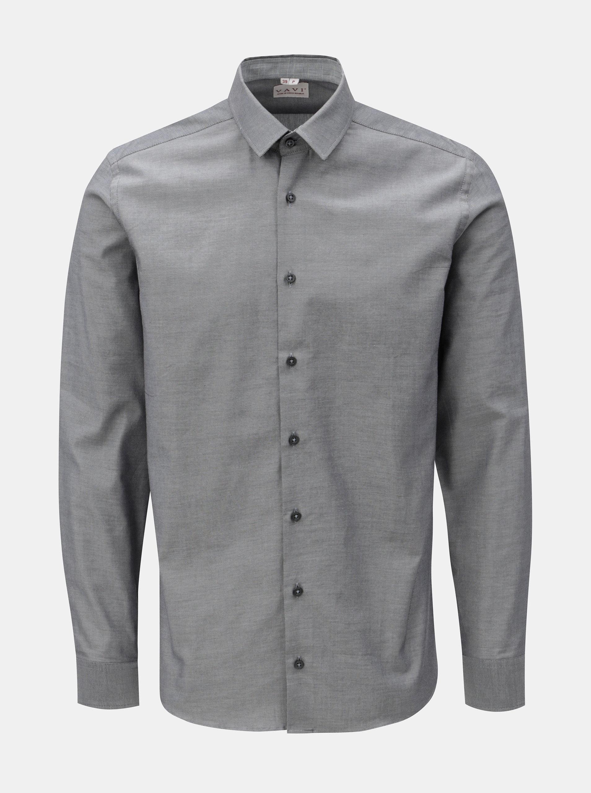 Sivá pánska košeľa so záplatami na lakťoch VAVI ... 3c54d4a45c5