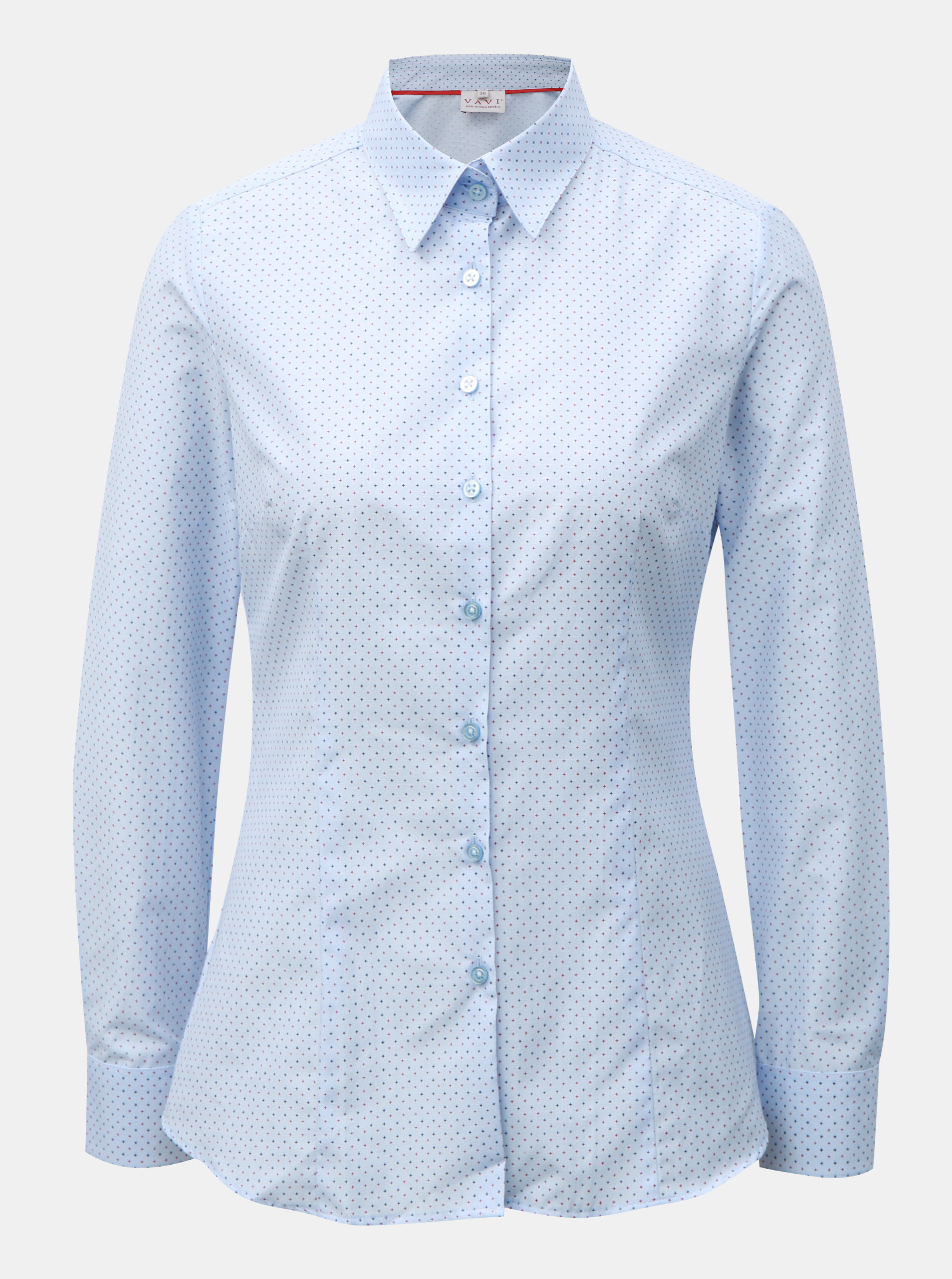 adf1c4c68a2 Světle modrá dámská košile s drobným vzorem VAVI ...