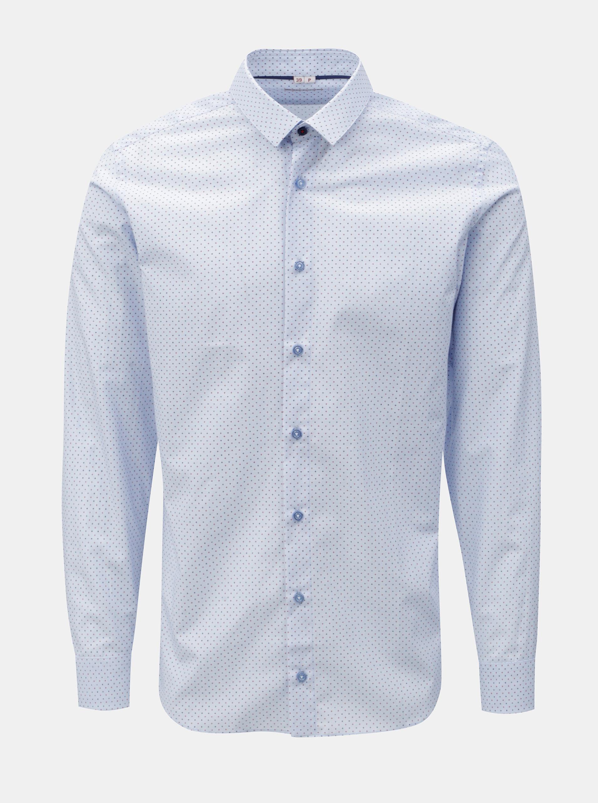 42cbfda6e39 Světle modrá pánská vzorovaná formální košile VAVI ...