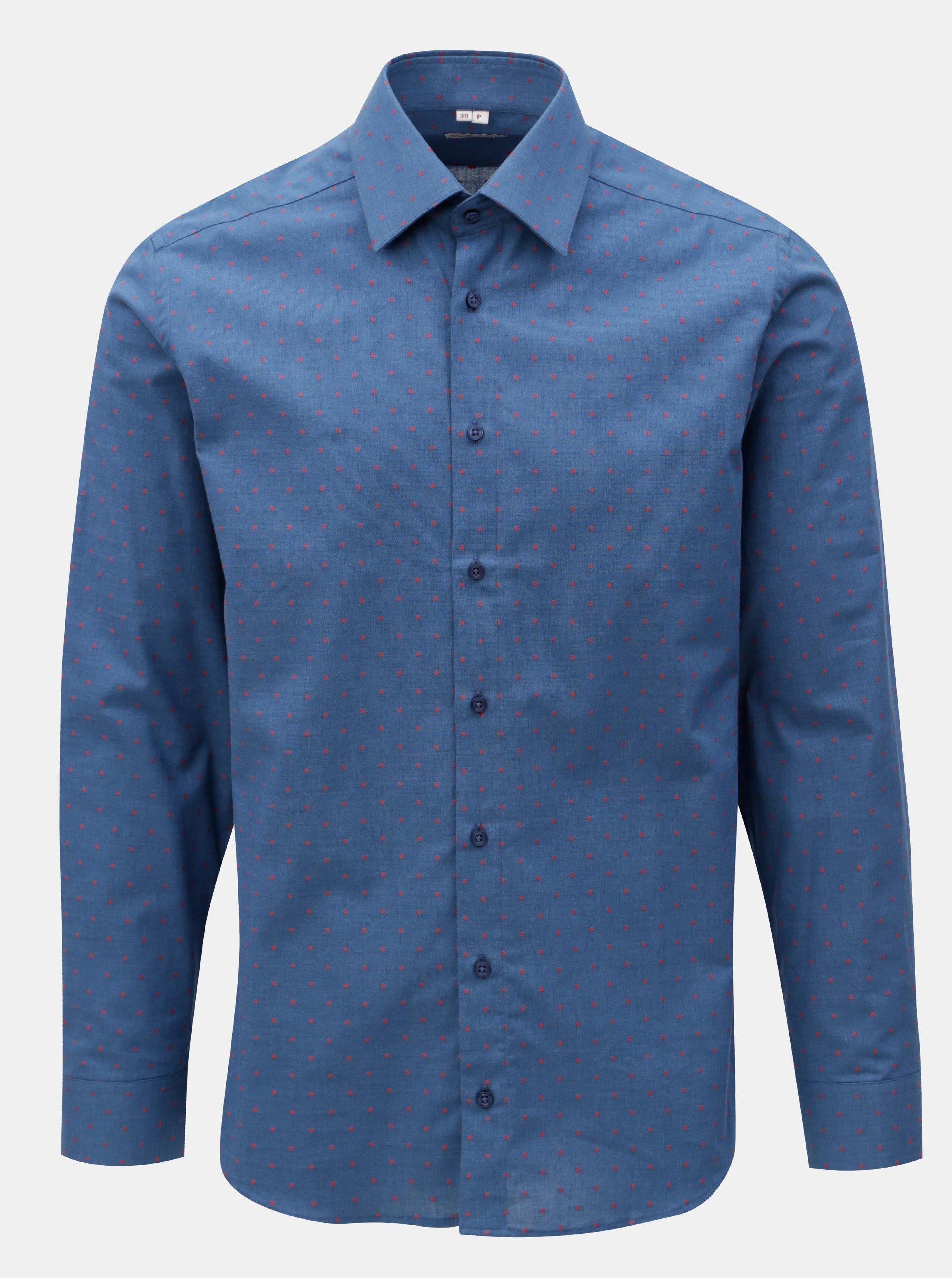 eb3103f67e88 Tmavomodrá pánska bodkovaná formálna košeľa VAVI ...