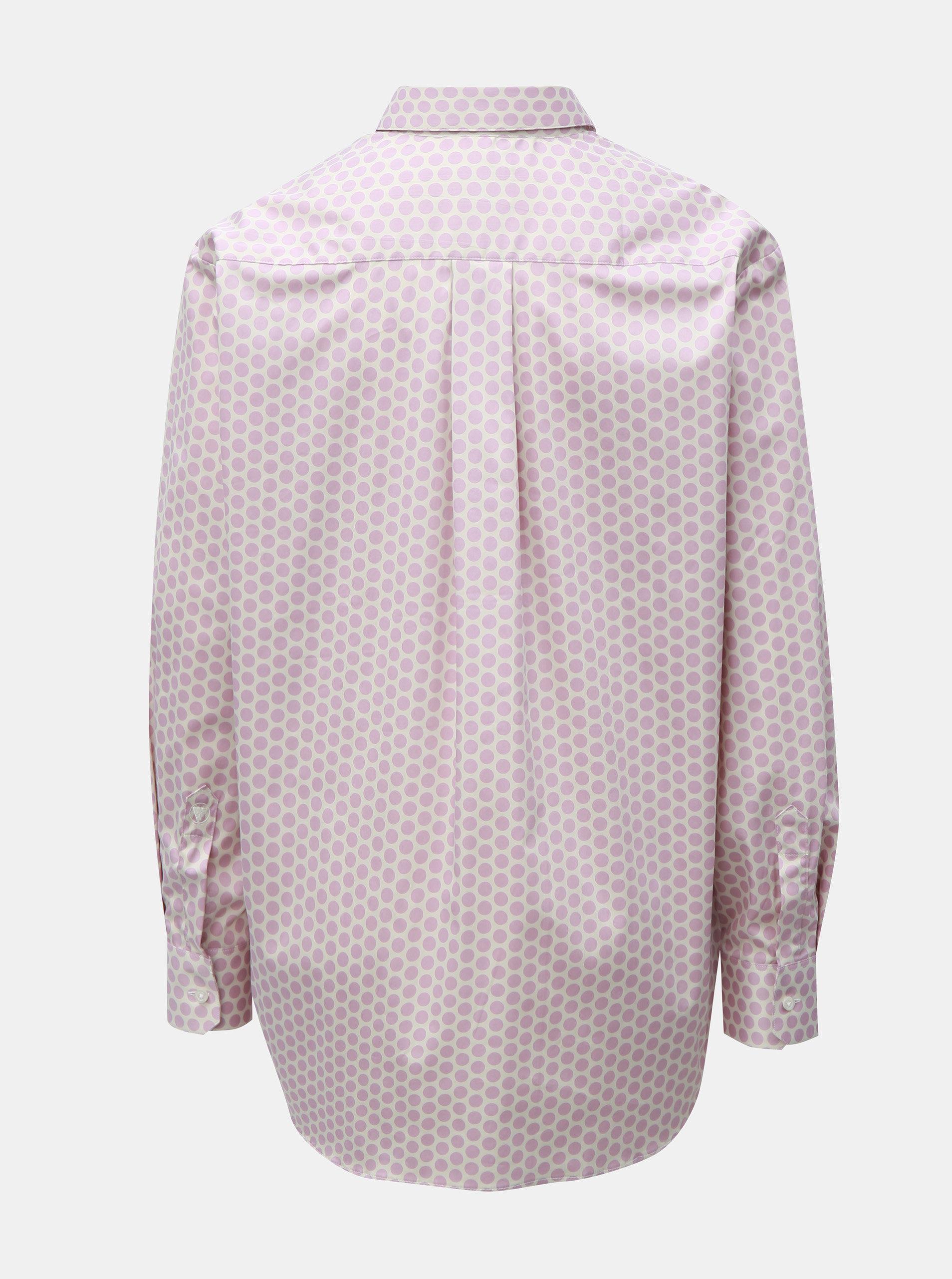 20c3caa76419 Krémovo-ružová bodkovaná voľná košeľa VAVI ...