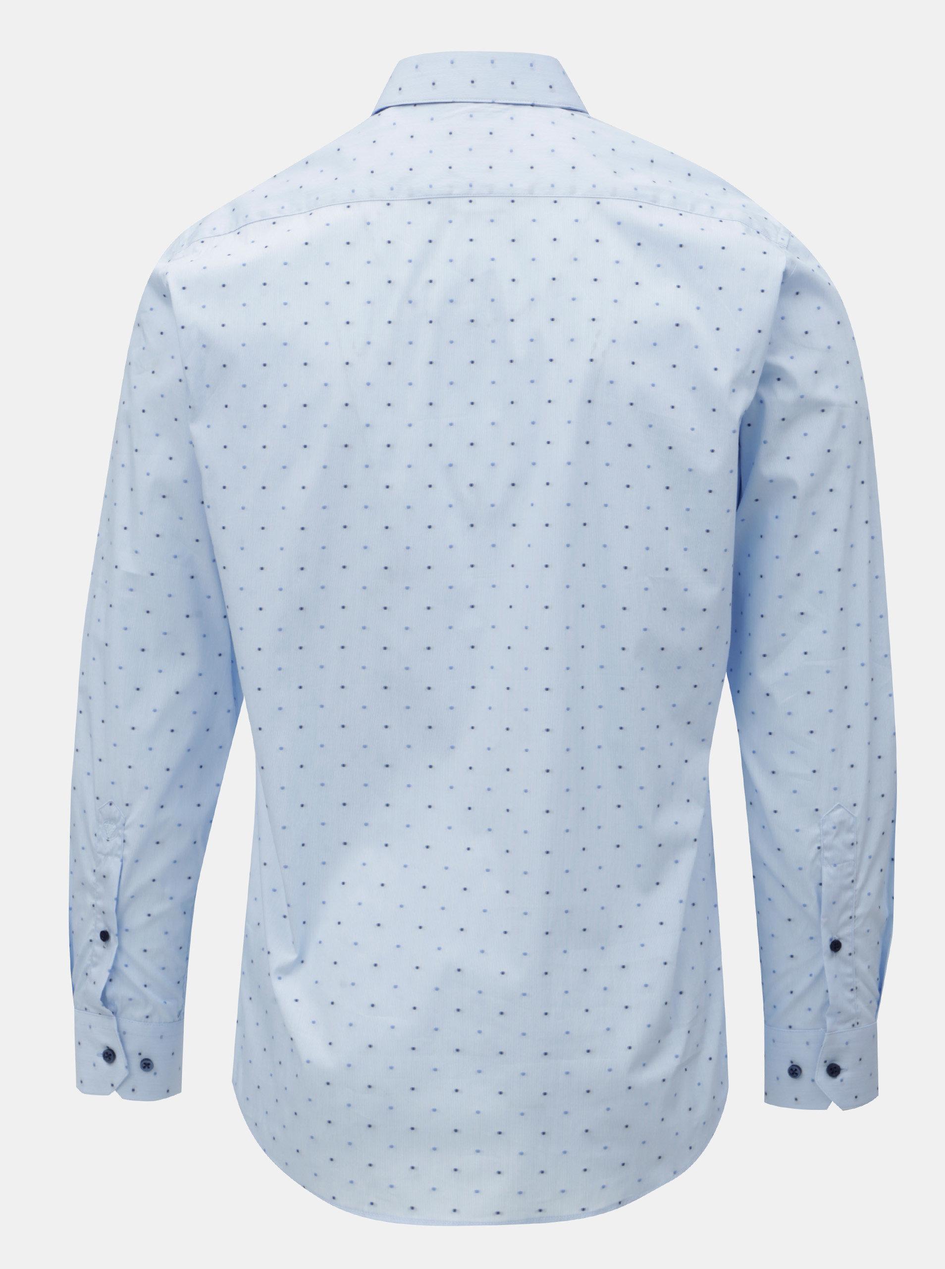 31dcd58285cf Svetlomodrá pánska bodkovaná formálna košeľa VAVI ...