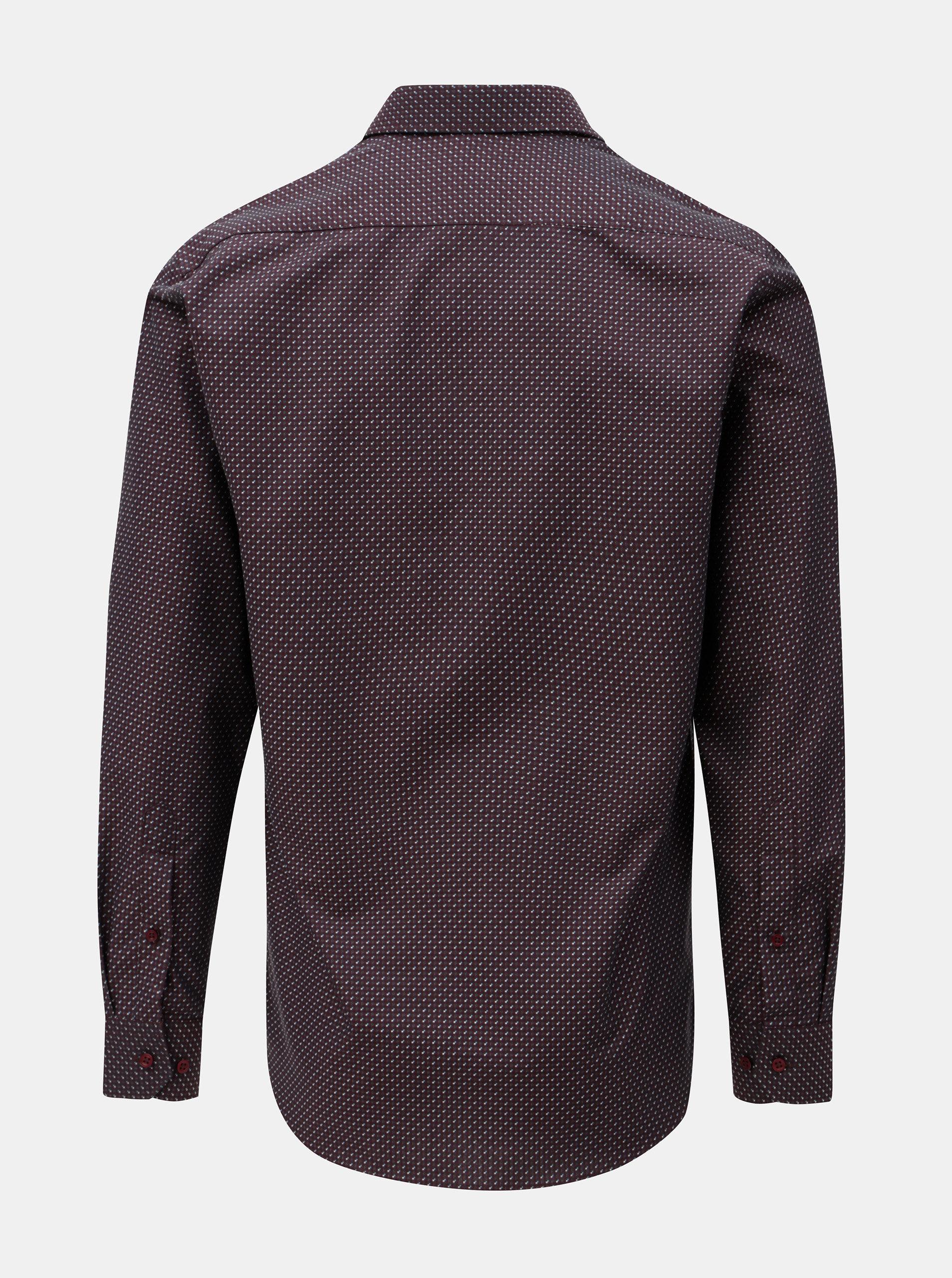 f235de9882f Vínová pánská vzorovaná formální košile VAVI ...