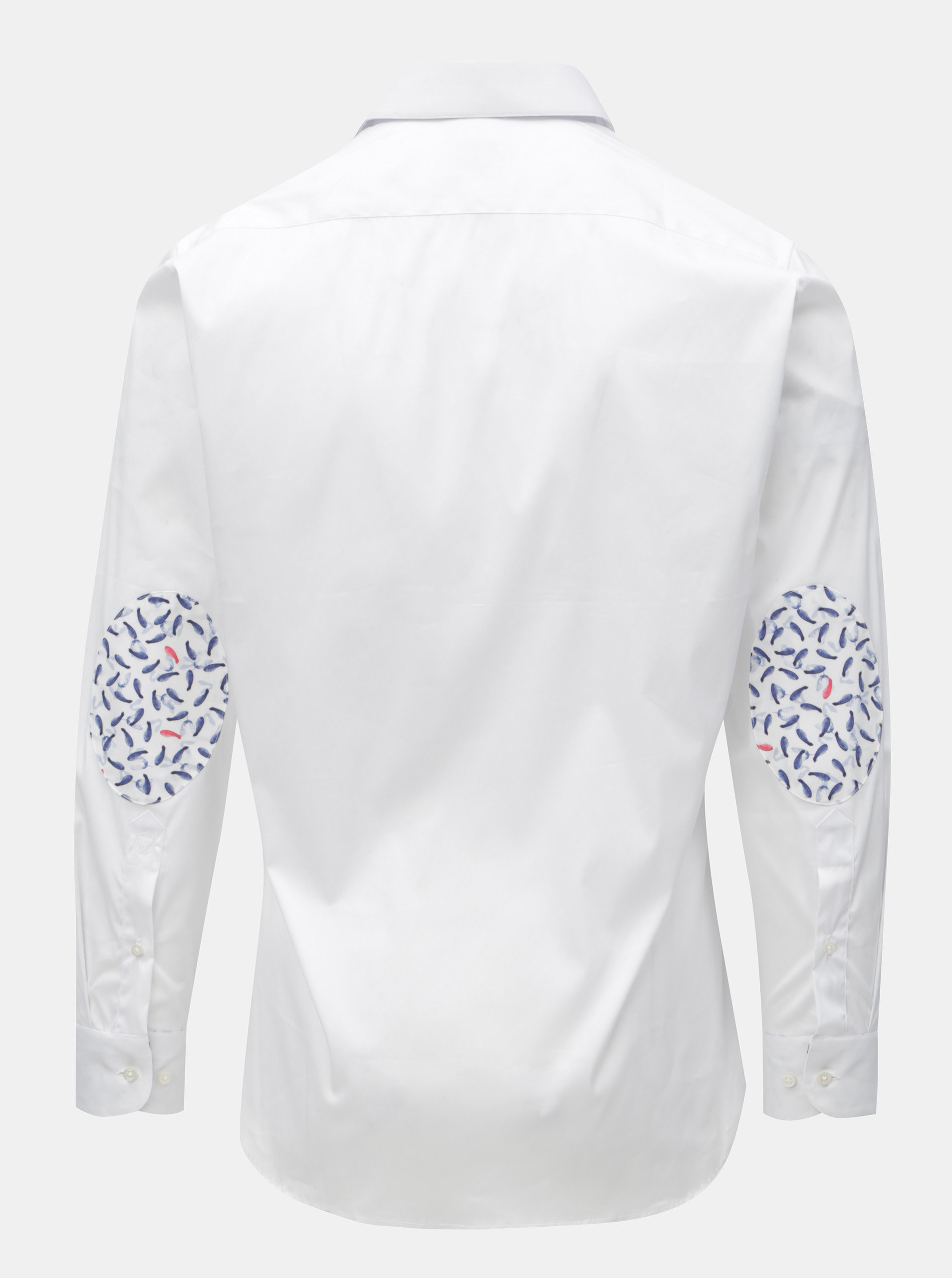 e0833cc9758f Bílá pánská košile se vzorovanými záplatami na loktech VAVI ...