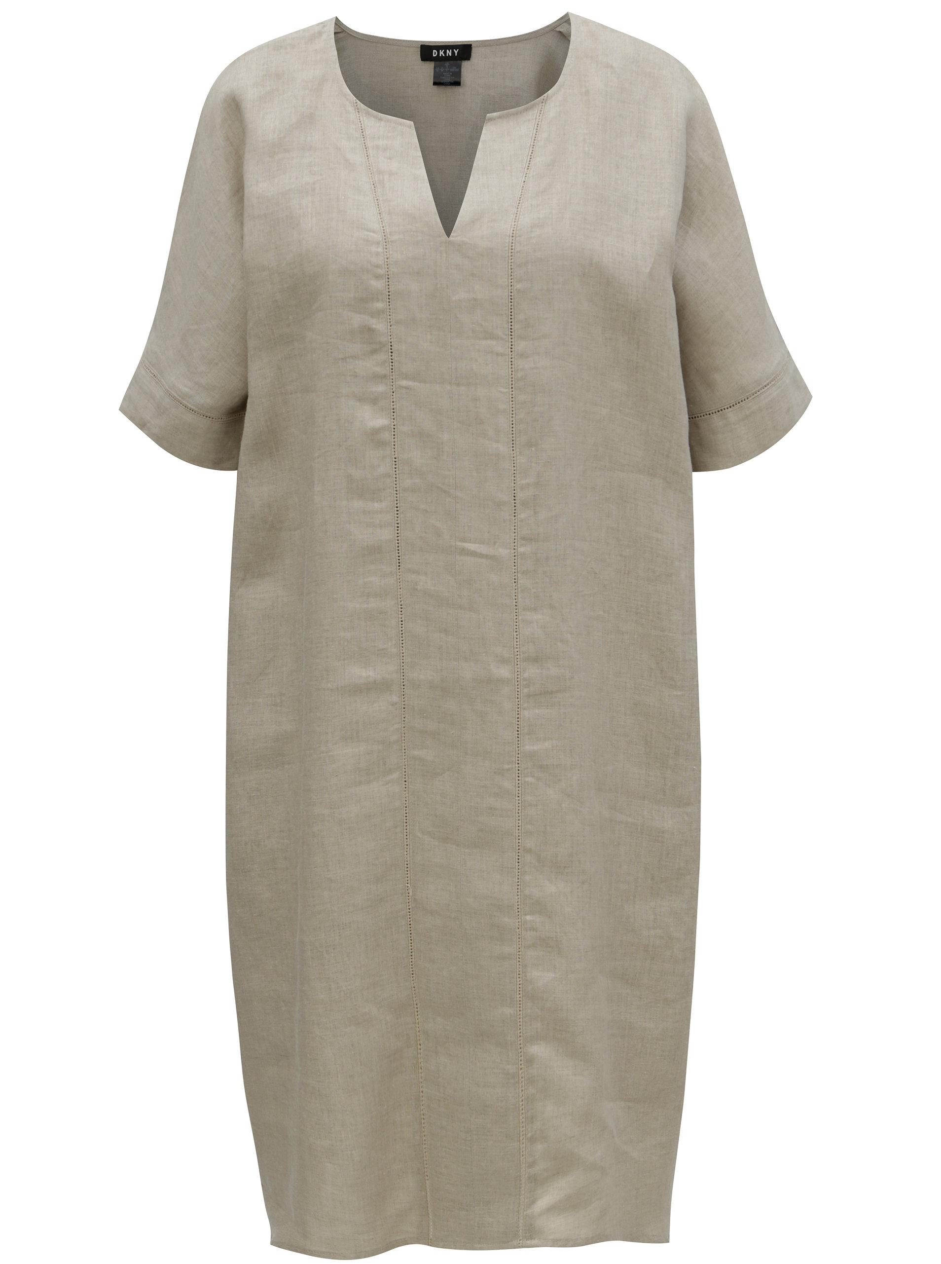 Béžové ľanové šaty DKNY ... 4c8858f62c7