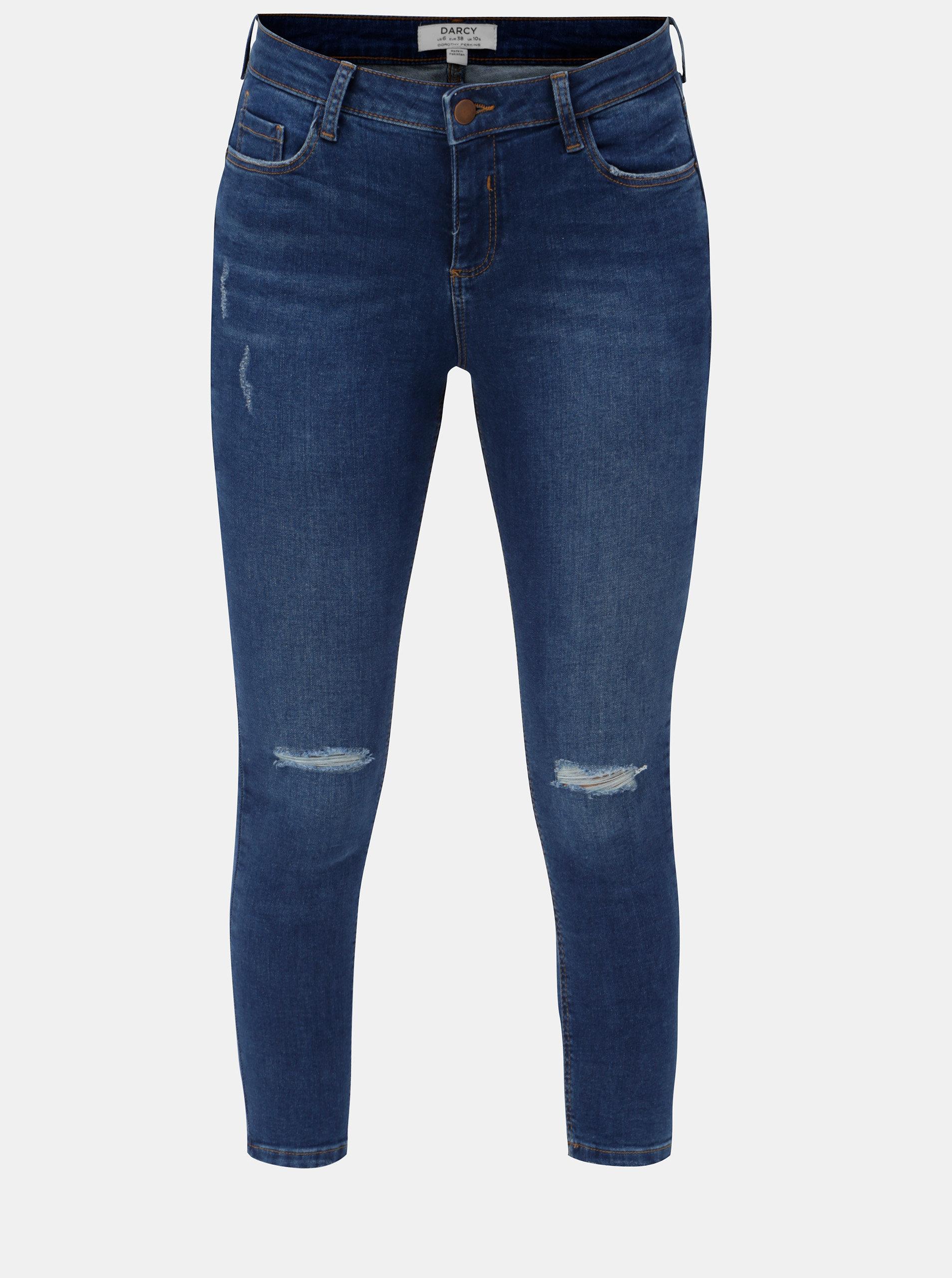 Tmavě modré zkrácené skinny džíny s potrhaným efektem džíny Dorothy Perkins