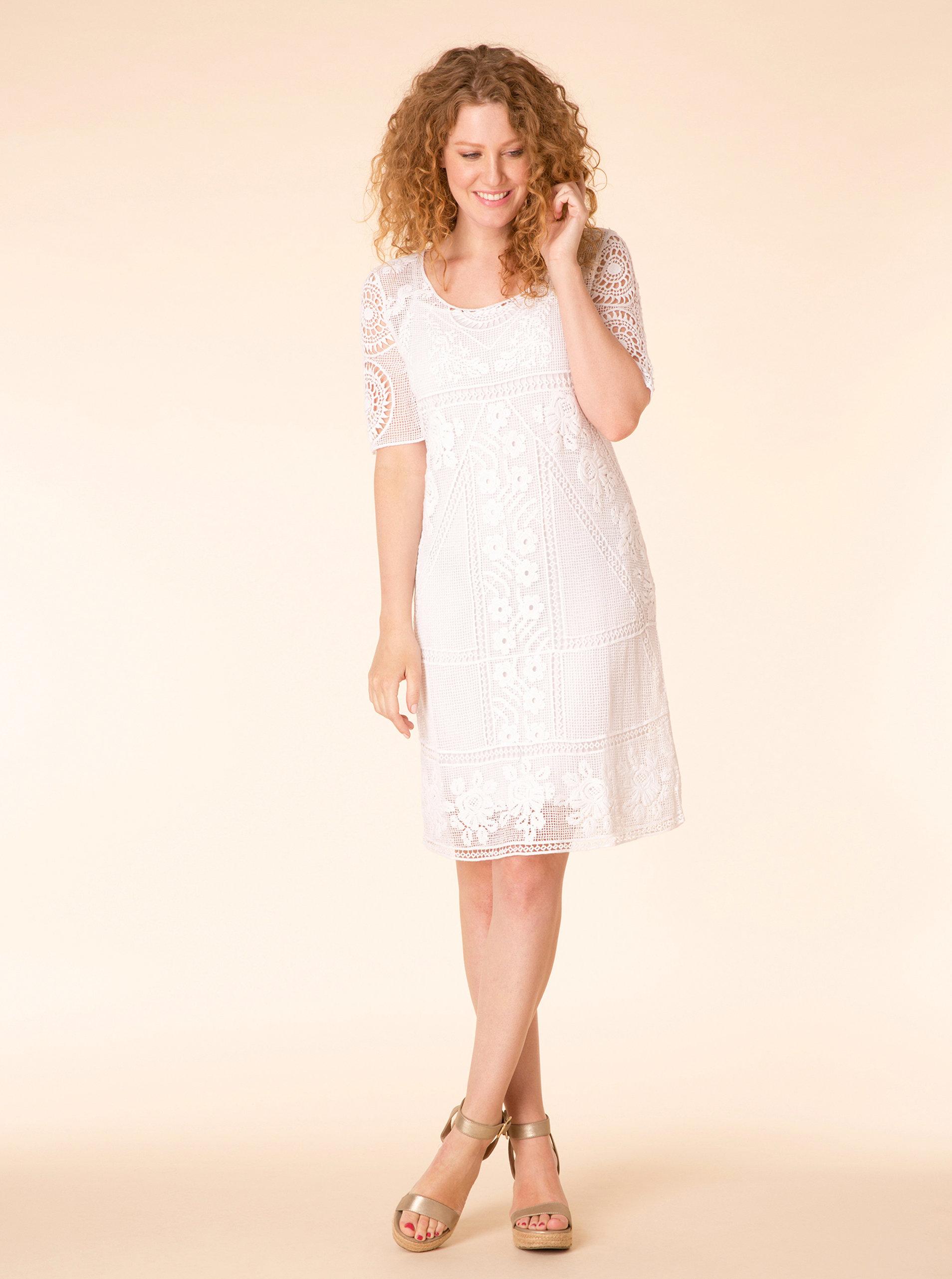 Bílé krajkové šaty Yest ... c3789571b6