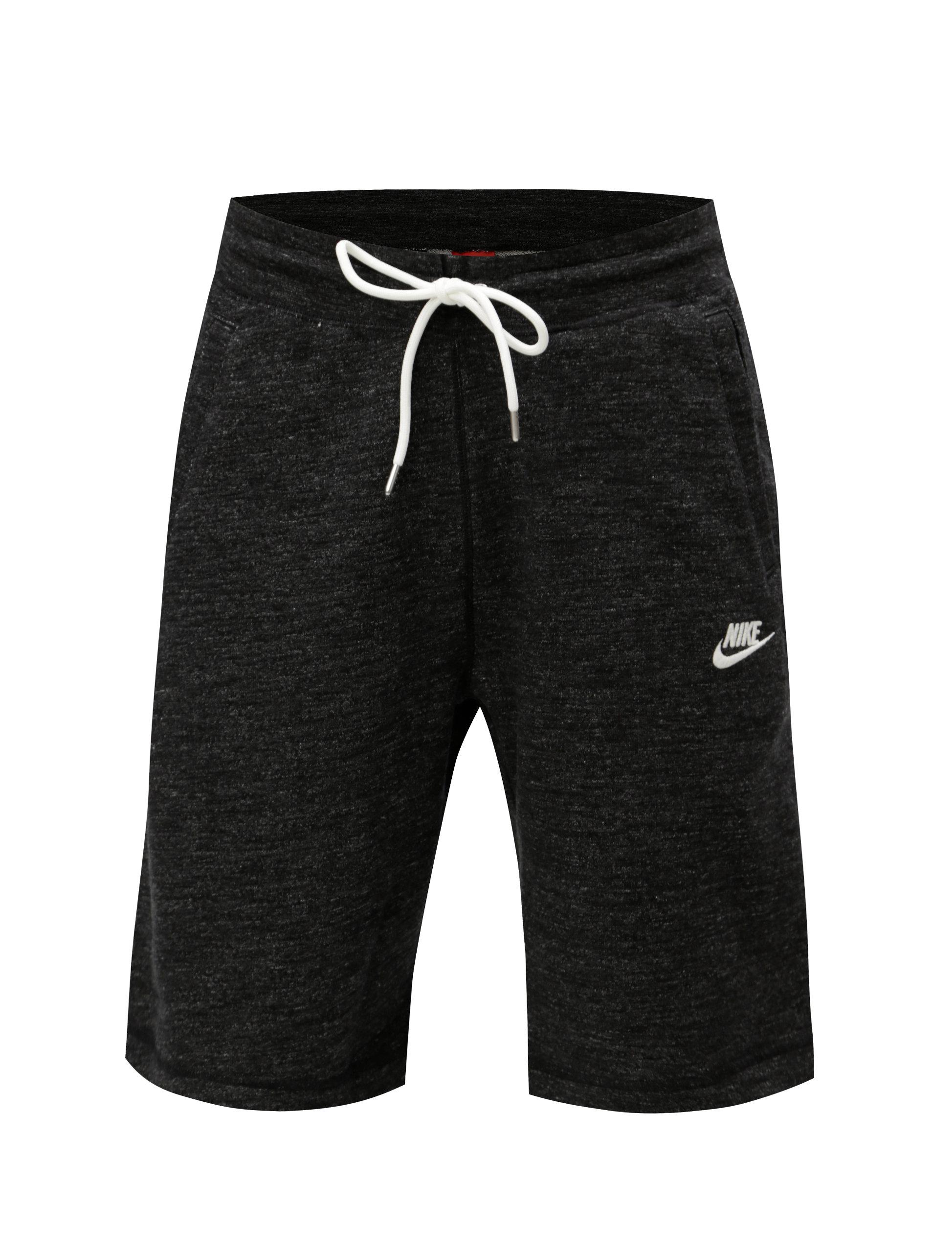 Tmavě šedé pánské žíhané teplákové kraťasy Nike ... e312ff6be2