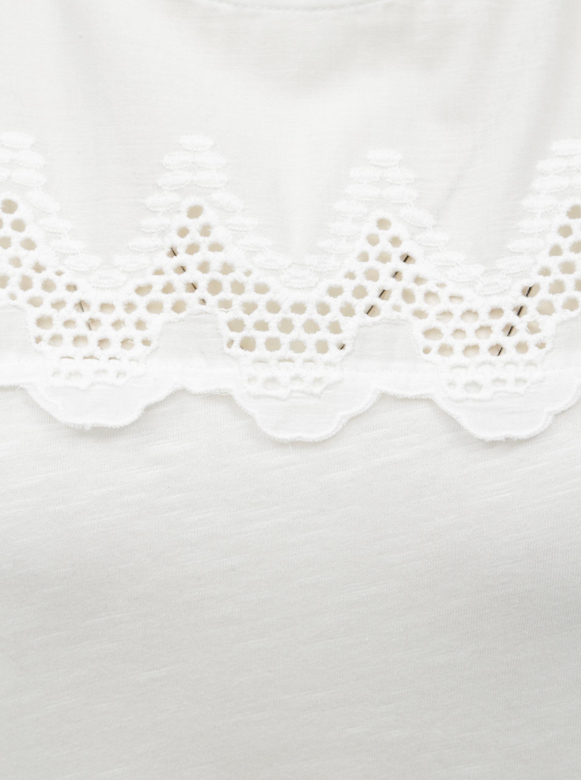 545575f912 Biele čipkované blúzka s volánmi Dorothy Perkins Tall
