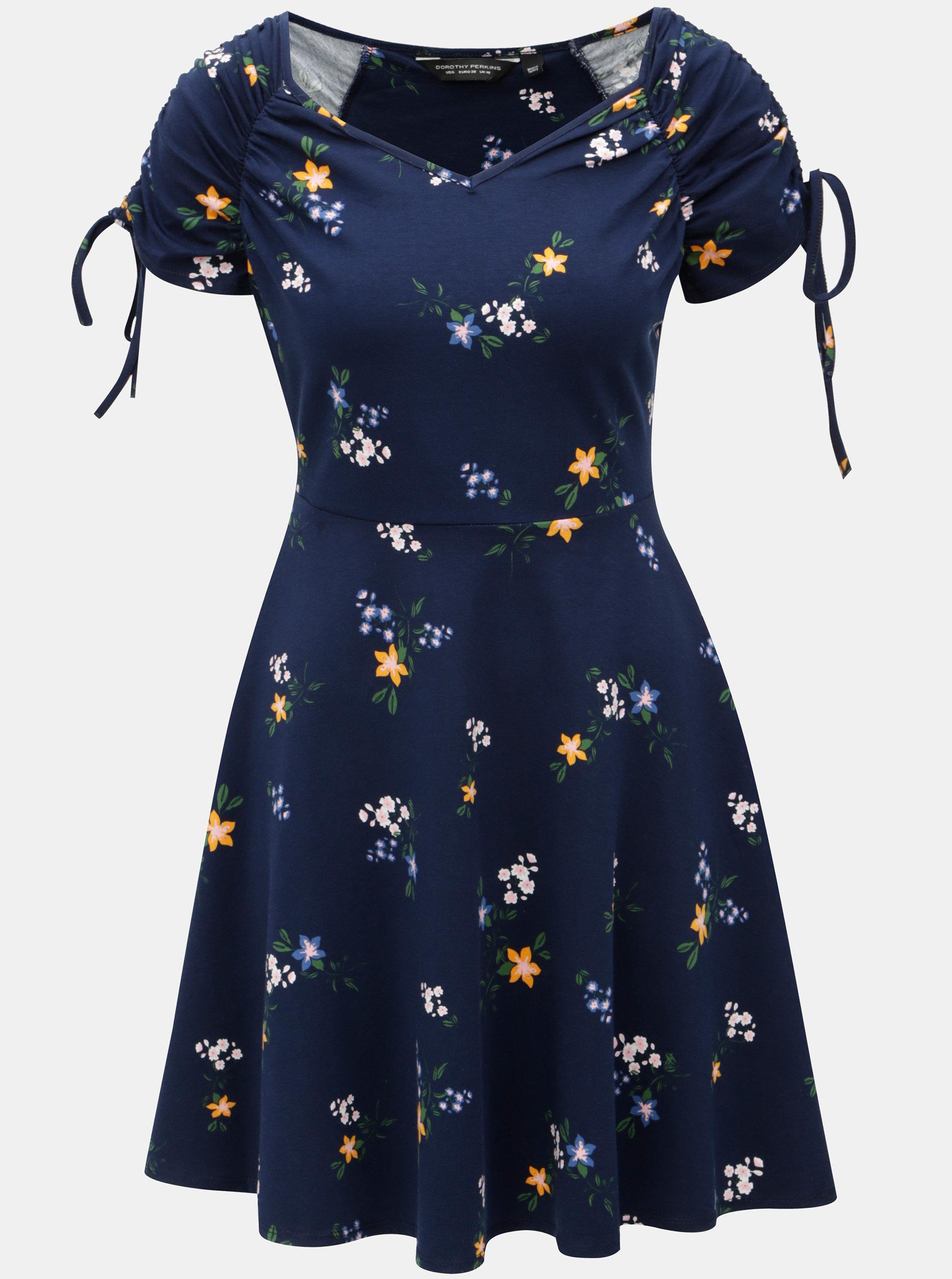 ad5a6d9429d8 Modré vzorované šaty Dorothy Perkins ...