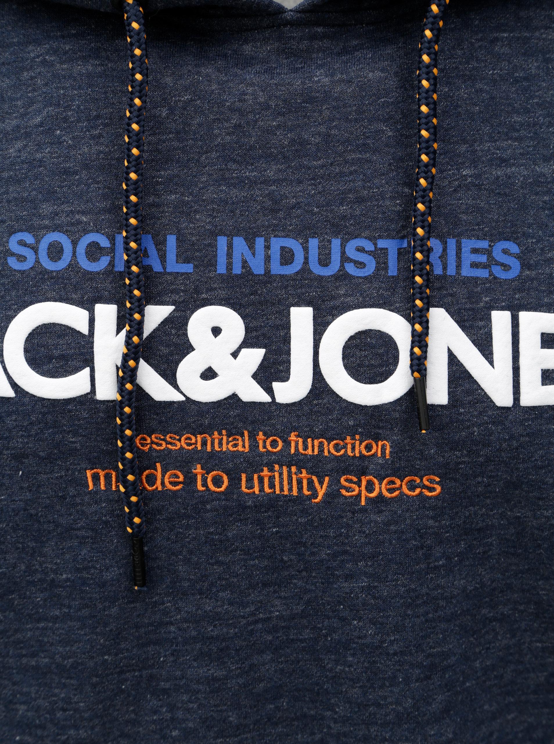 bdfc266407a3 Tmavomodrá melírovaná mikina s potlačou Jack   Jones Jacob ...