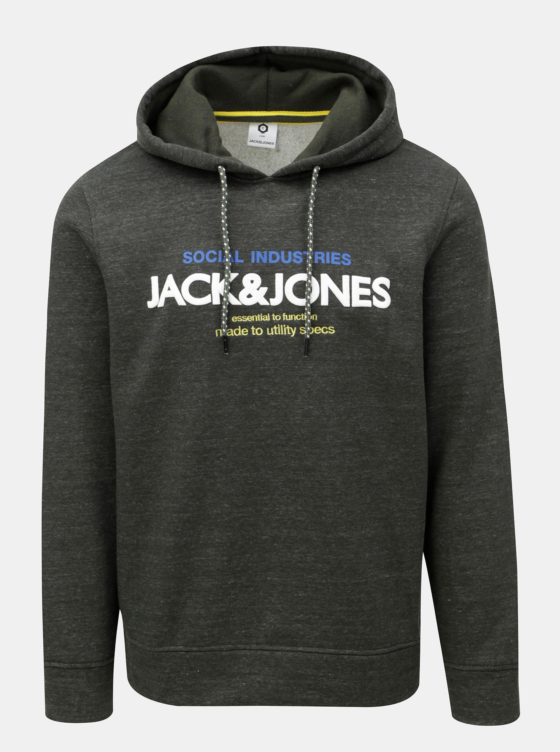 Tmavě zelená žíhaná mikina s potiskem Jack   Jones Jacob ... c41e210eab